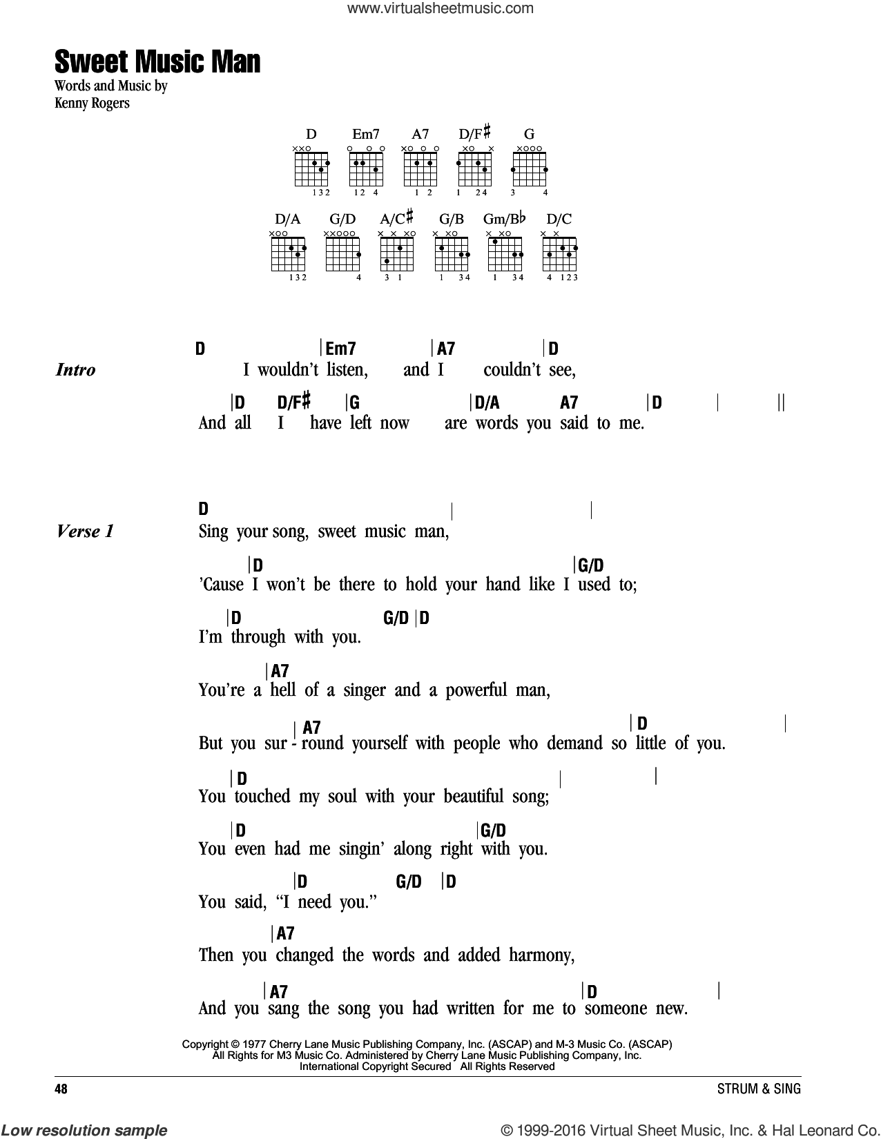 Sweet Music Man sheet music for guitar (chords) by Kenny Rogers and Reba, intermediate skill level