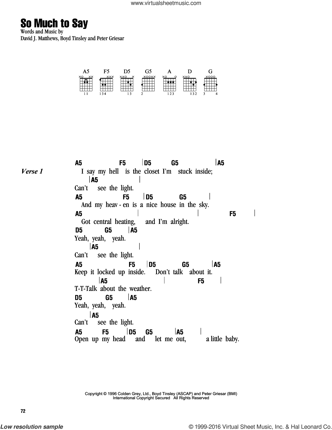 So Much To Say sheet music for guitar (chords) by Dave Matthews Band. Score Image Preview.