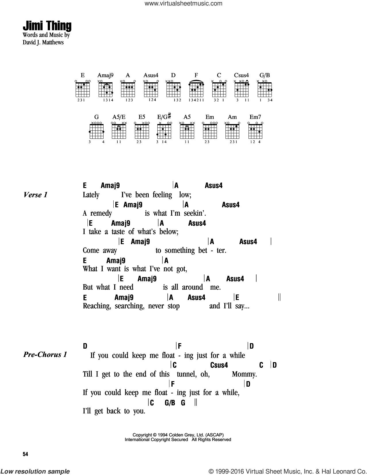 Jimi Thing sheet music for guitar (chords) by Dave Matthews Band. Score Image Preview.