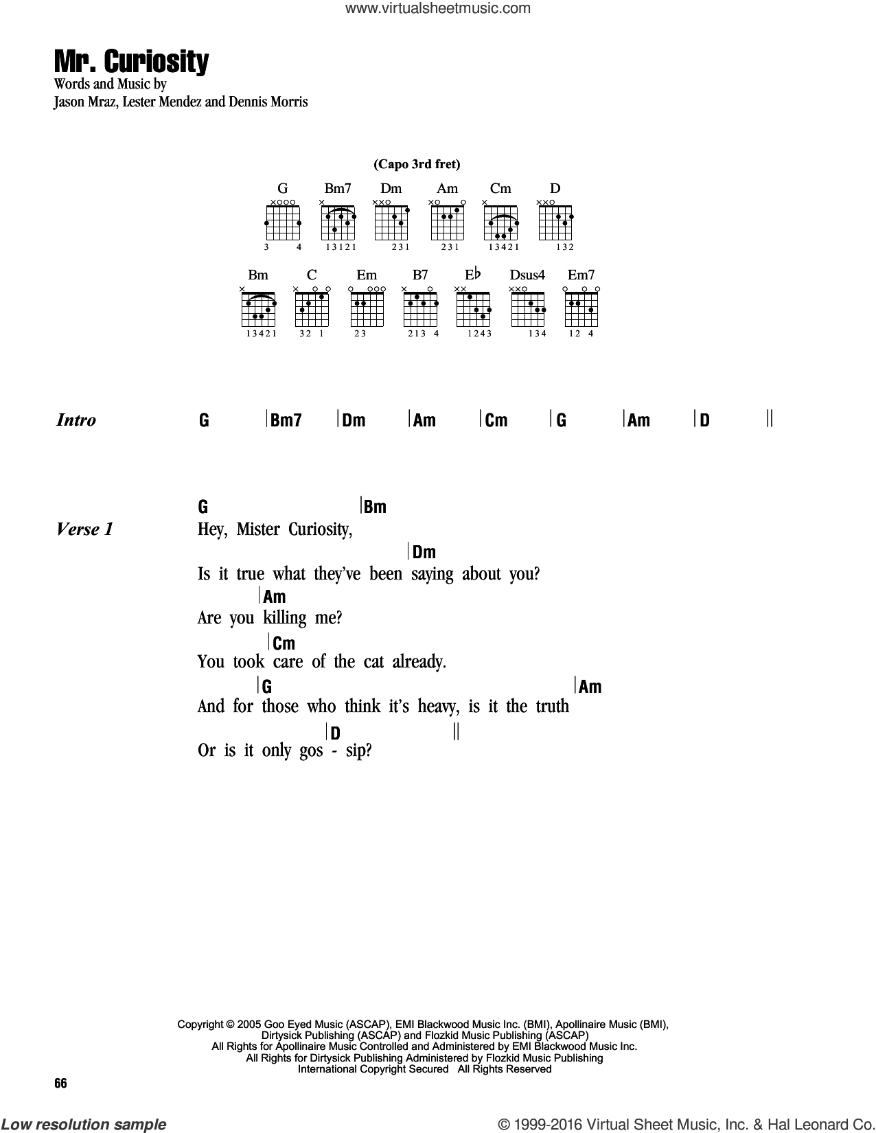 Mr. Curiosity sheet music for guitar (chords) by Jason Mraz, intermediate. Score Image Preview.