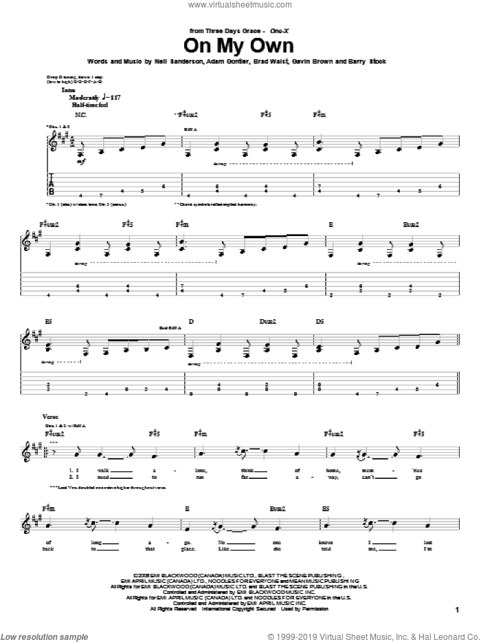 On My Own sheet music for guitar (tablature) by Neil Sanderson, Three Days Grace, Barry Stock and Gavin Brown. Score Image Preview.