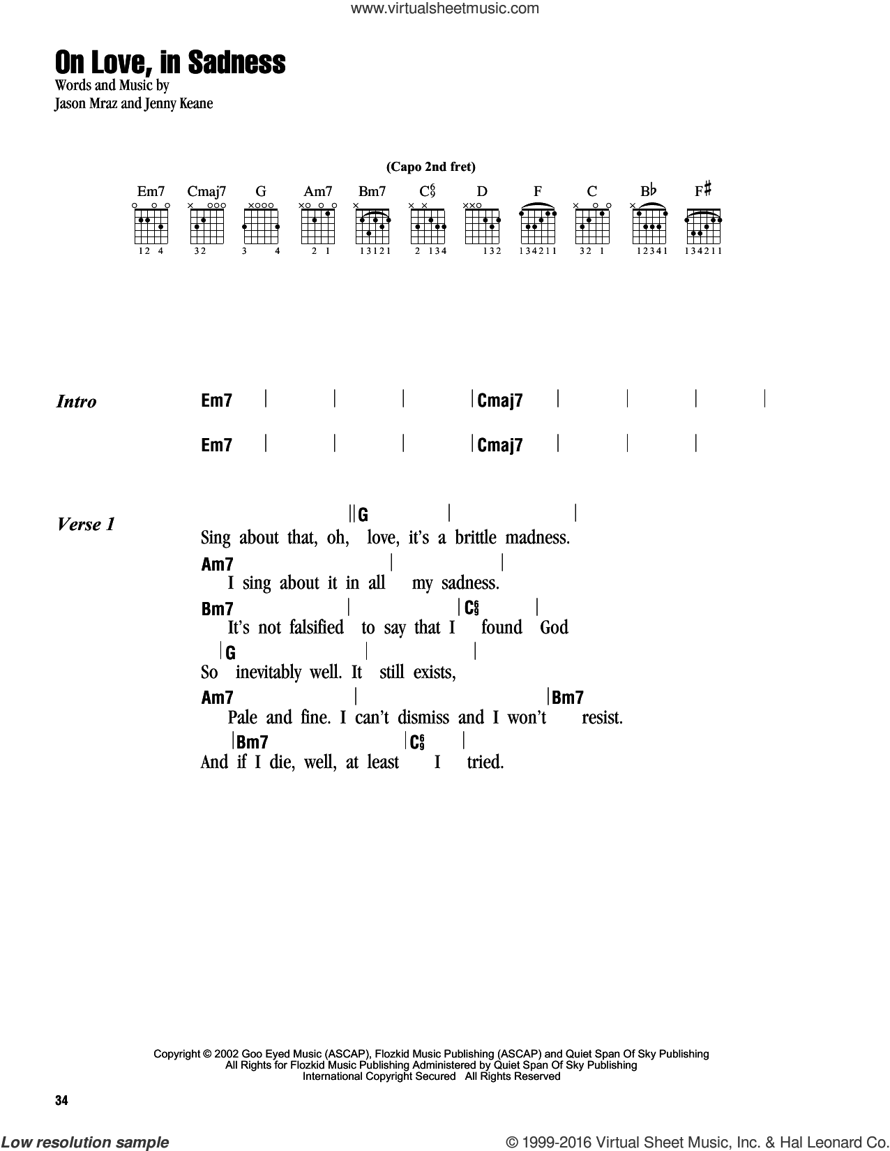 On Love, In Sadness sheet music for guitar (chords) by Jason Mraz and Jenny Keane, intermediate skill level