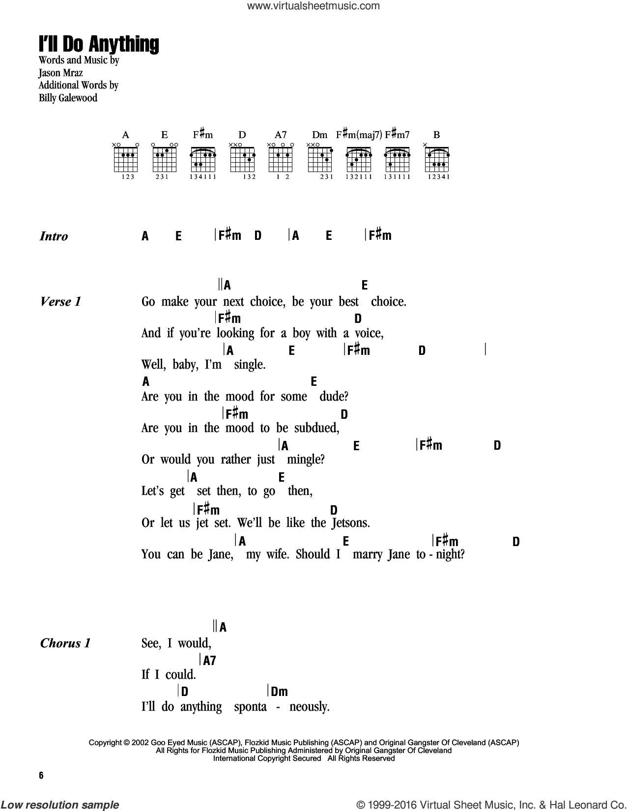 I'll Do Anything sheet music for guitar (chords) by Jason Mraz. Score Image Preview.