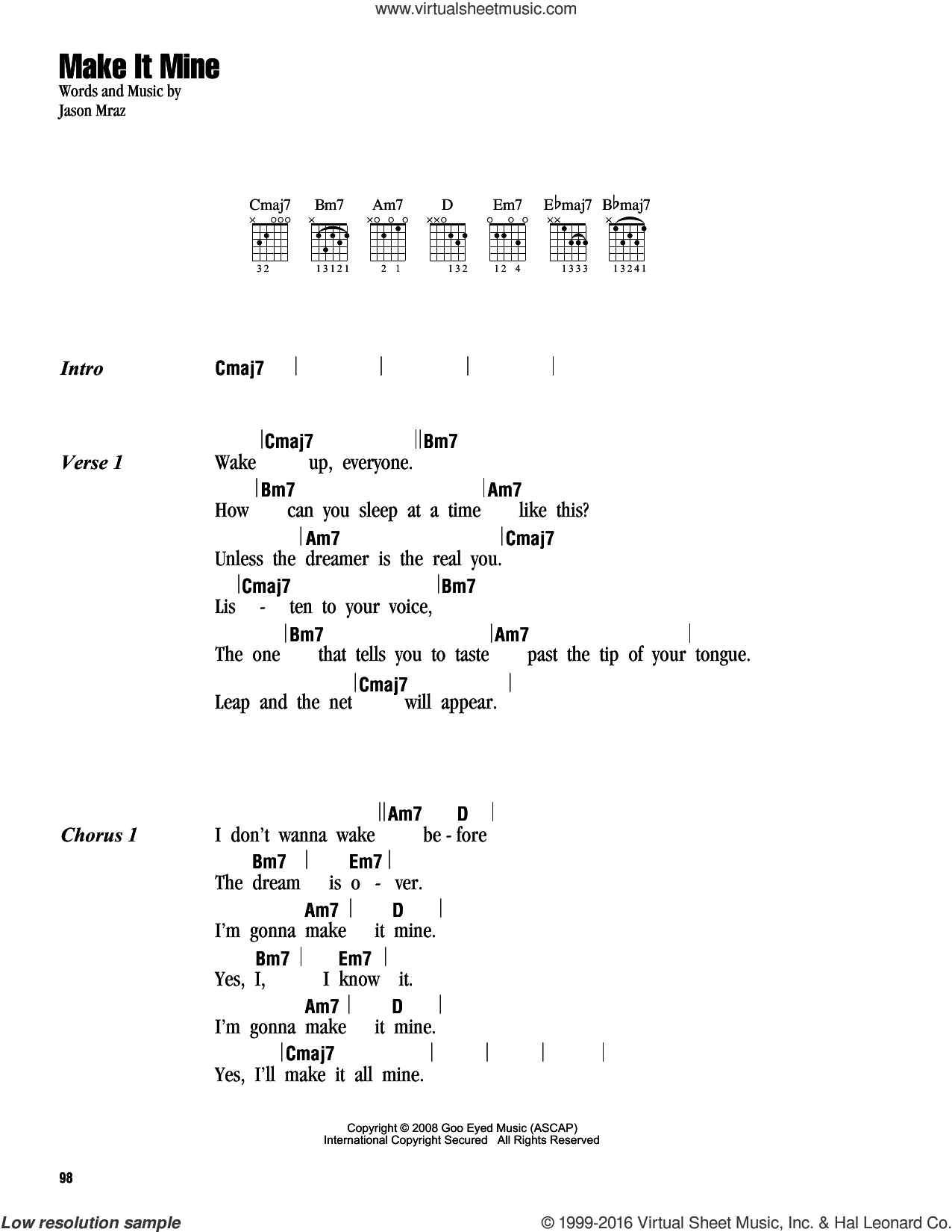 Make It Mine sheet music for guitar (chords) by Jason Mraz, intermediate