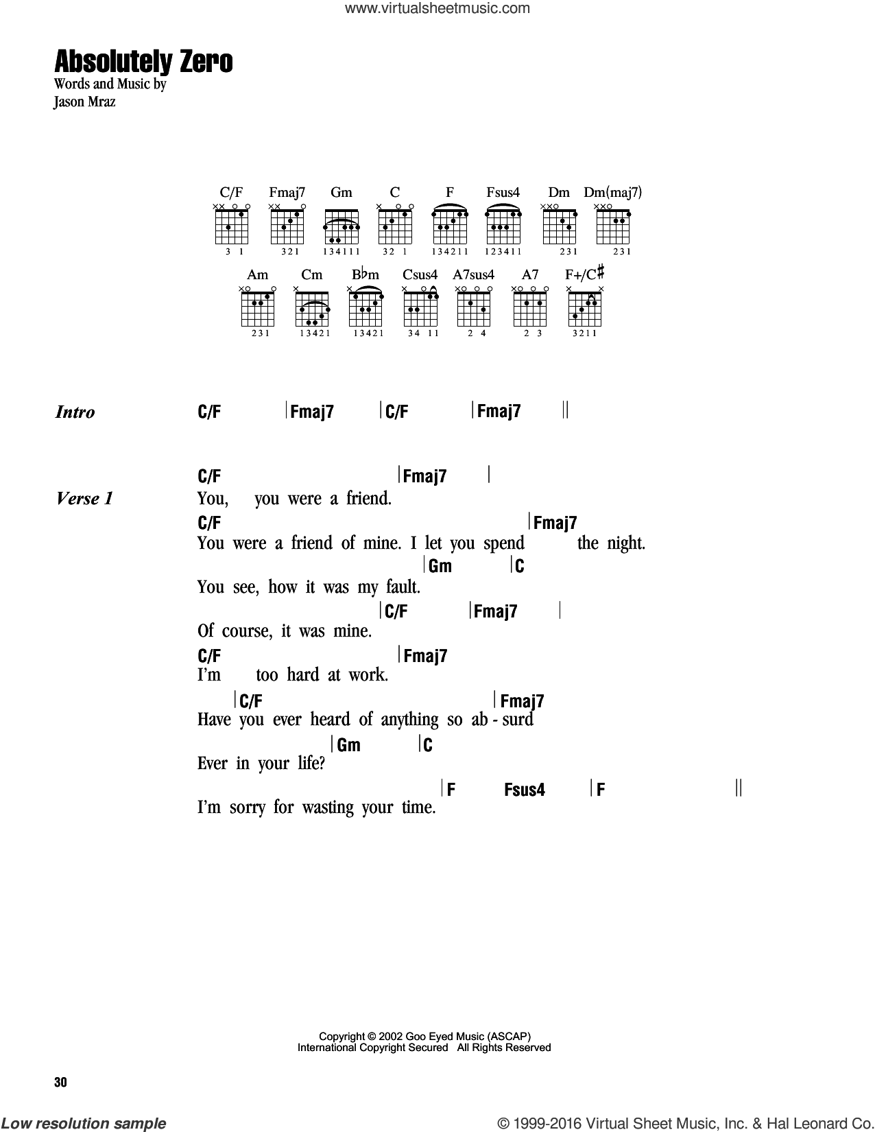 Absolutely Zero sheet music for guitar (chords) by Jason Mraz. Score Image Preview.
