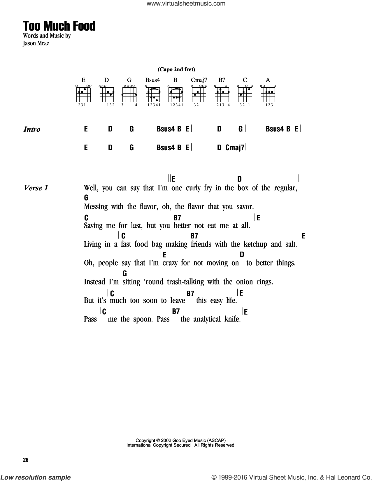 Too Much Food sheet music for guitar (chords) by Jason Mraz, intermediate skill level