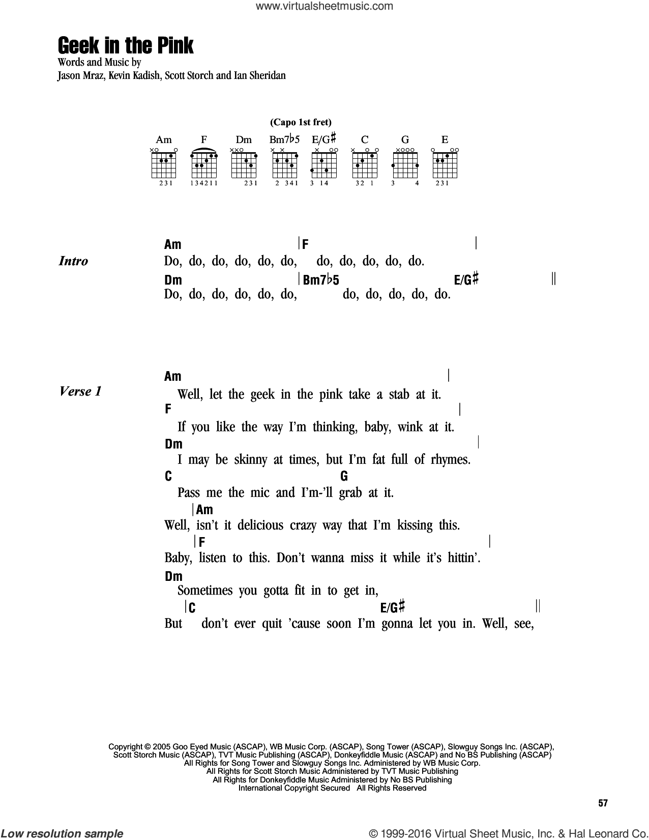 Geek In The Pink sheet music for guitar (chords) by Jason Mraz, Ian Sheridan, Kevin Kadish and Scott Storch, intermediate