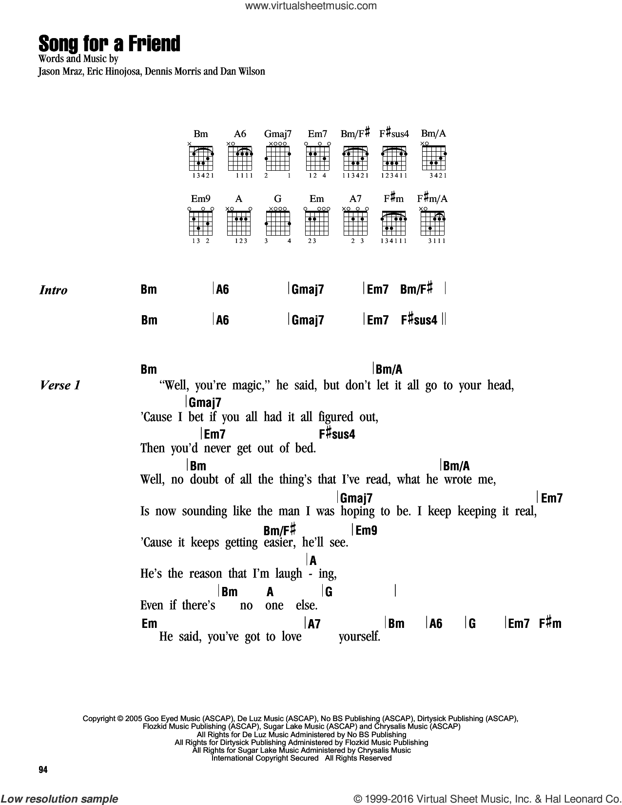 Song For A Friend sheet music for guitar (chords) by Jason Mraz, Dan Wilson, Dennis Morris and Eric Hinojosa, intermediate skill level