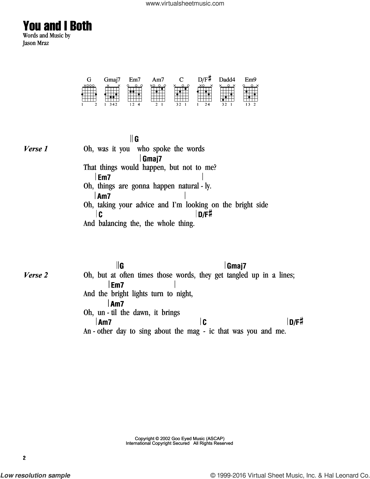 You and I Both sheet music for guitar (chords) by Jason Mraz, intermediate skill level