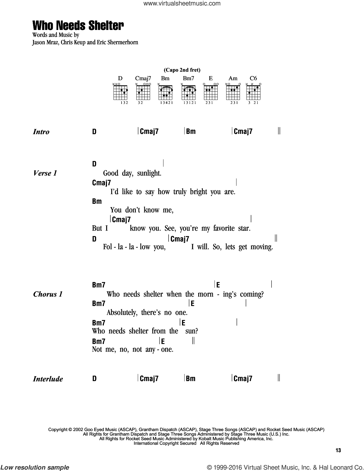 Who Needs Shelter sheet music for guitar (chords) by Eric Shermerhorn and Jason Mraz. Score Image Preview.