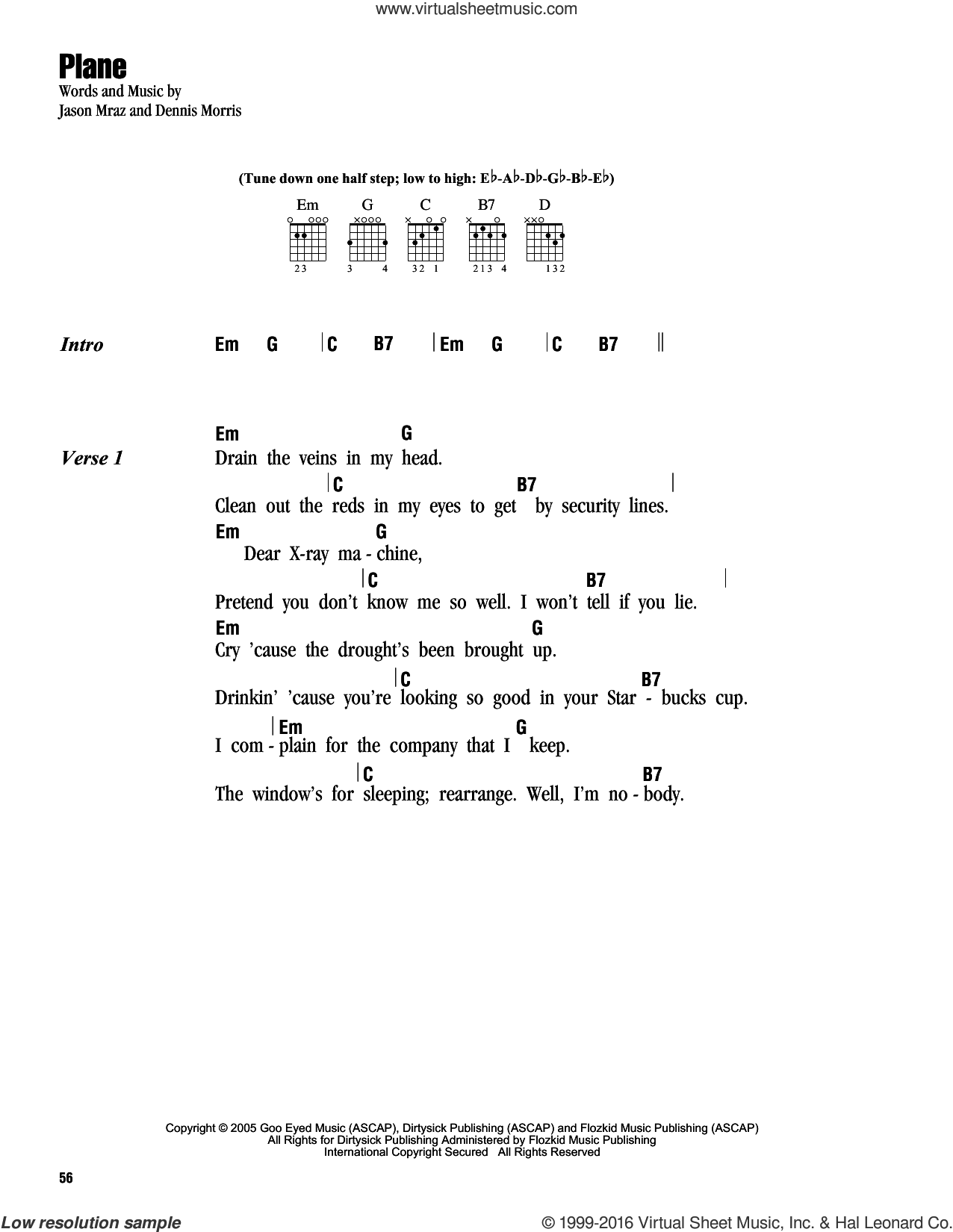 Plane sheet music for guitar (chords) by Dennis Morris and Jason Mraz. Score Image Preview.
