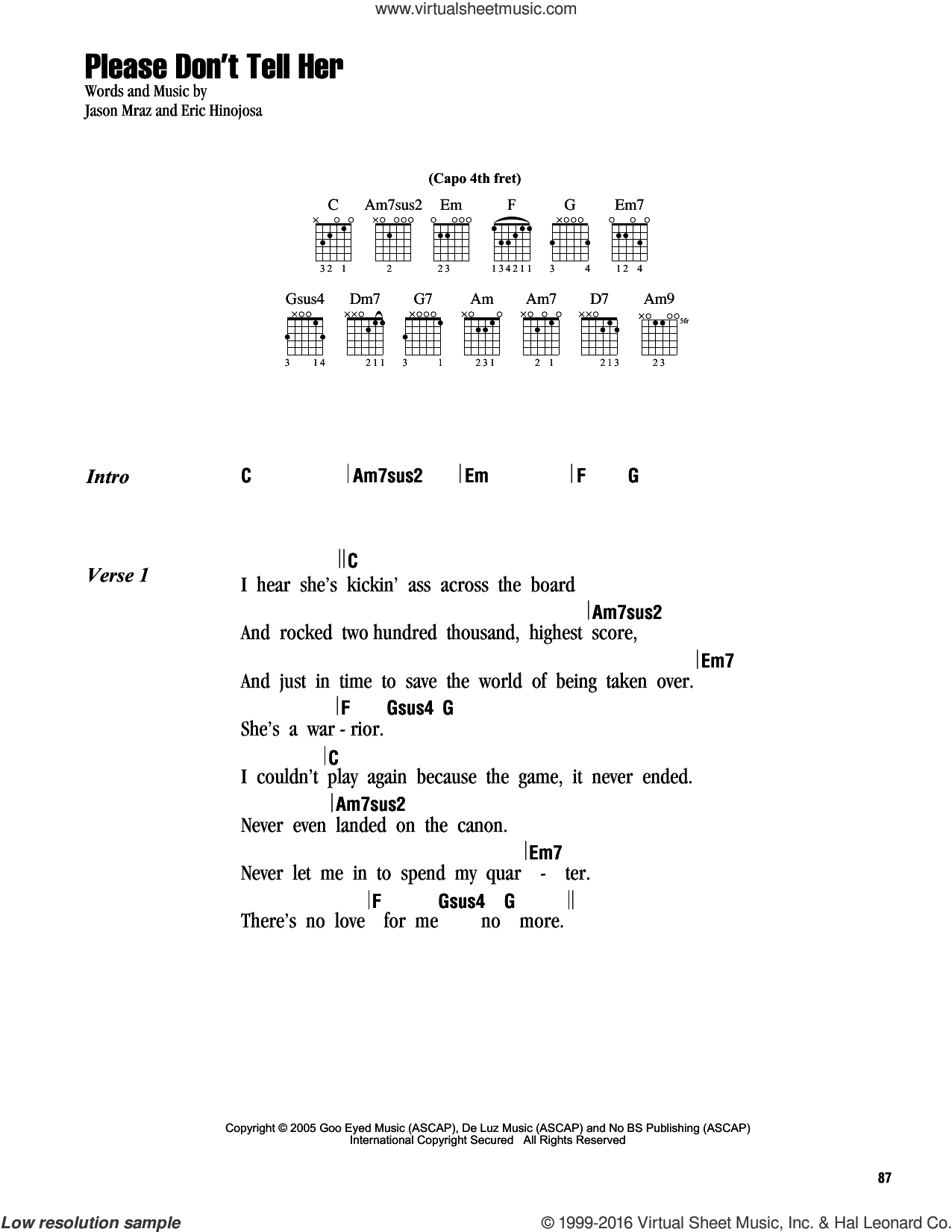 Please Don't Tell Her sheet music for guitar (chords) by Jason Mraz, intermediate. Score Image Preview.