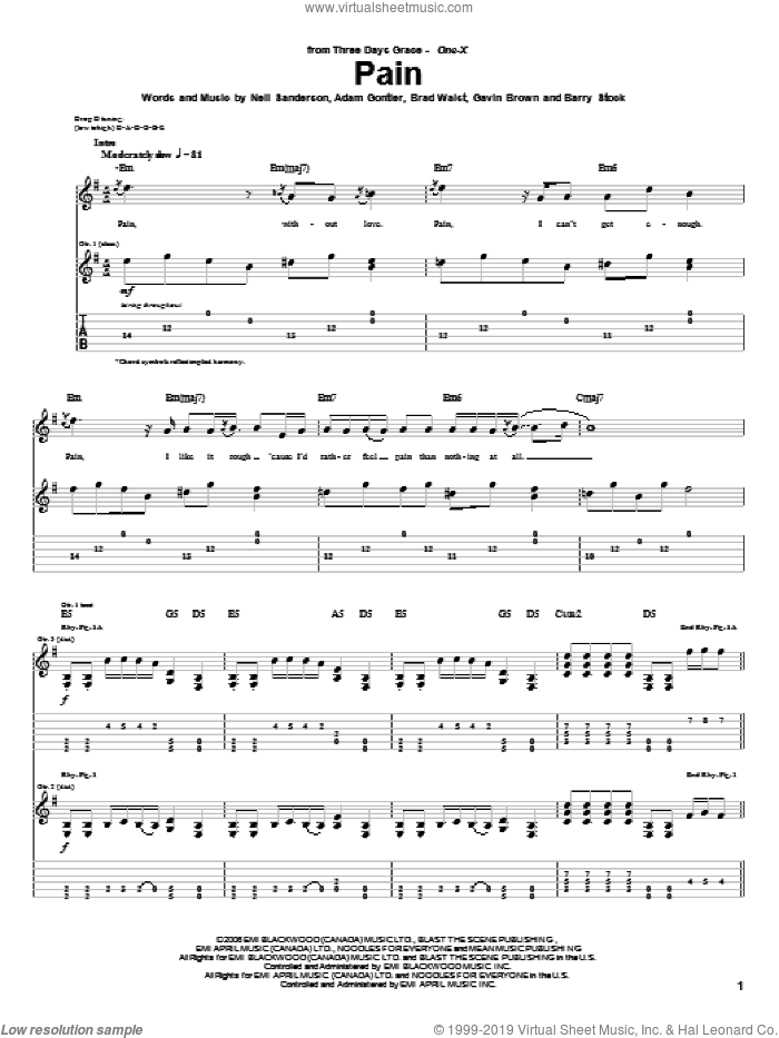 Pain sheet music for guitar (tablature) by Neil Sanderson, Three Days Grace, Barry Stock and Gavin Brown. Score Image Preview.