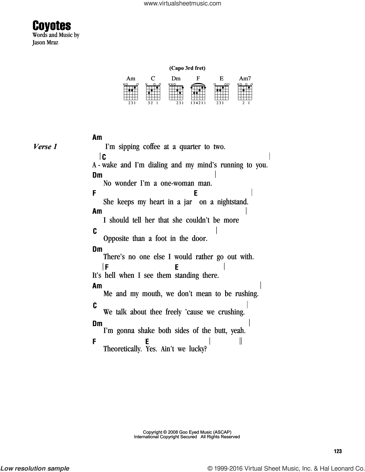 Coyotes sheet music for guitar (chords) by Jason Mraz. Score Image Preview.