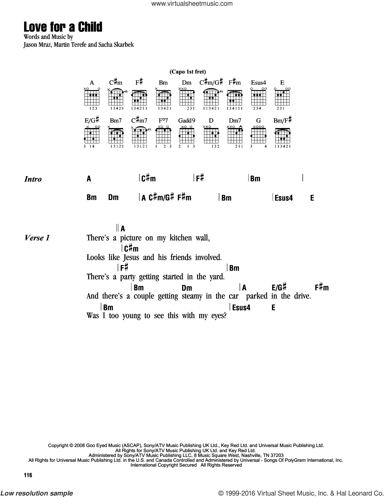 Love For A Child sheet music for guitar (chords) by Sacha Skarbek, Jason Mraz and Martin Terefe. Score Image Preview.