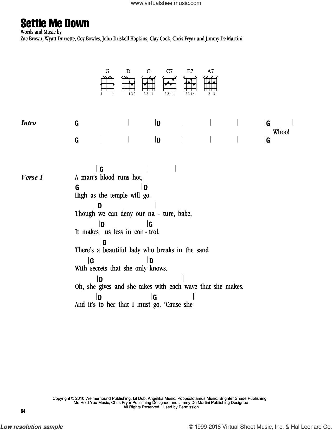 Settle Me Down sheet music for guitar (chords) by Zac Brown, Zac Brown Band, Clay Cook, John Driskell Hopkins and Wyatt Durrette. Score Image Preview.