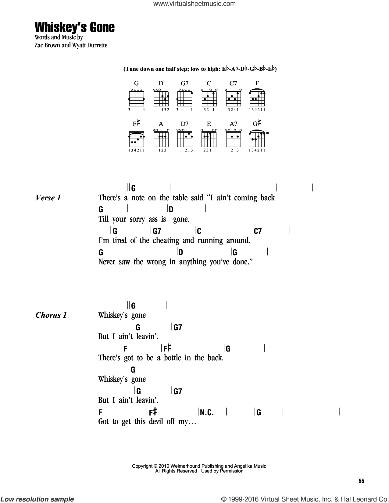 Whiskey's Gone sheet music for guitar (chords) by Zac Brown Band, Wyatt Durrette and Zac Brown, intermediate skill level