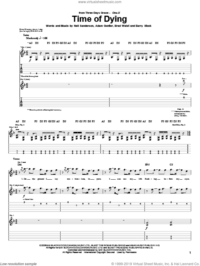 Time Of Dying sheet music for guitar (tablature) by Neil Sanderson, Three Days Grace and Barry Stock. Score Image Preview.
