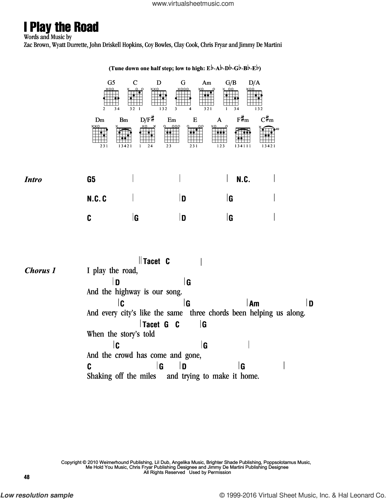 I Play The Road sheet music for guitar (chords) by Zac Brown Band. Score Image Preview.
