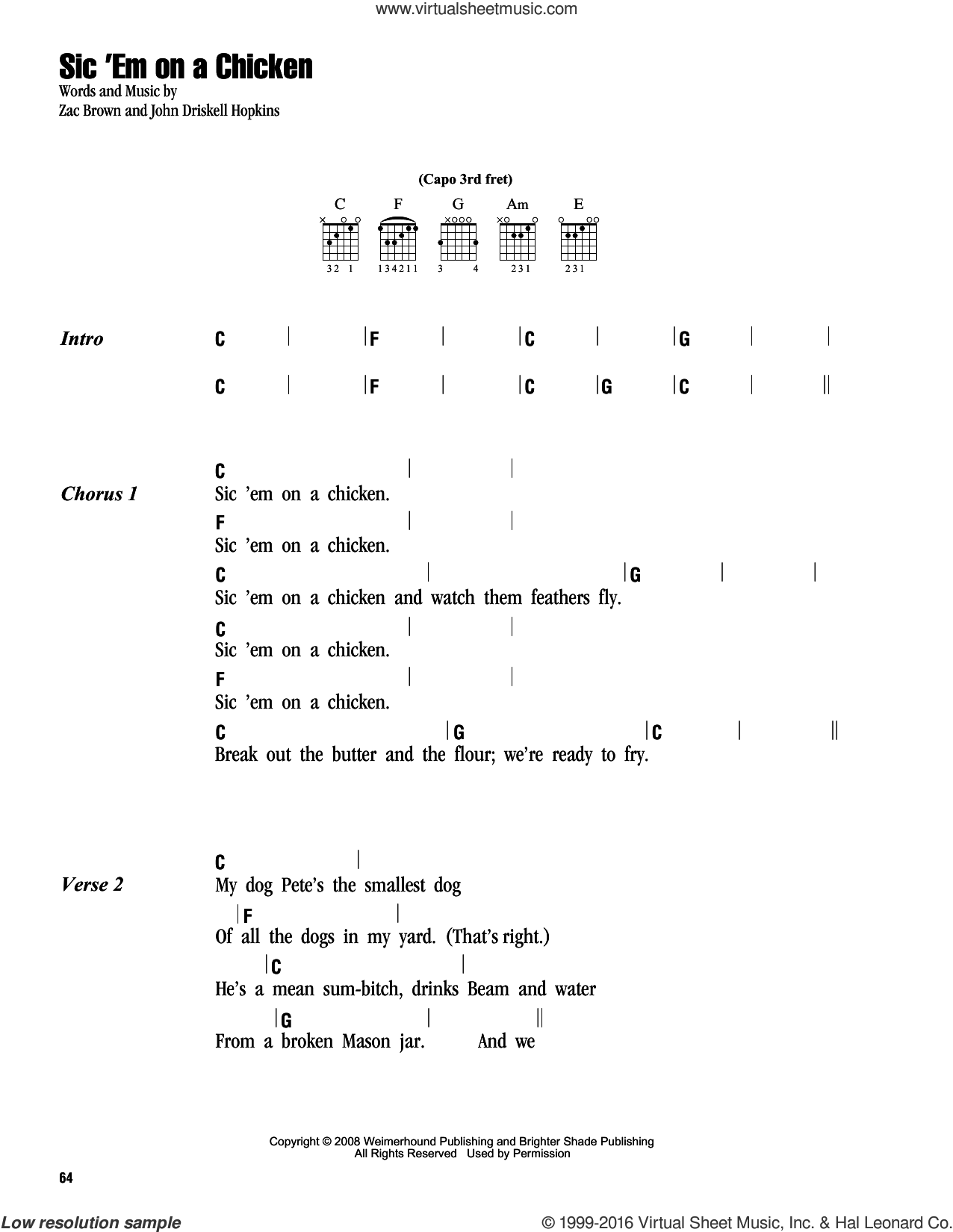 Sic 'Em On A Chicken sheet music for guitar (chords) by Zac Brown Band. Score Image Preview.