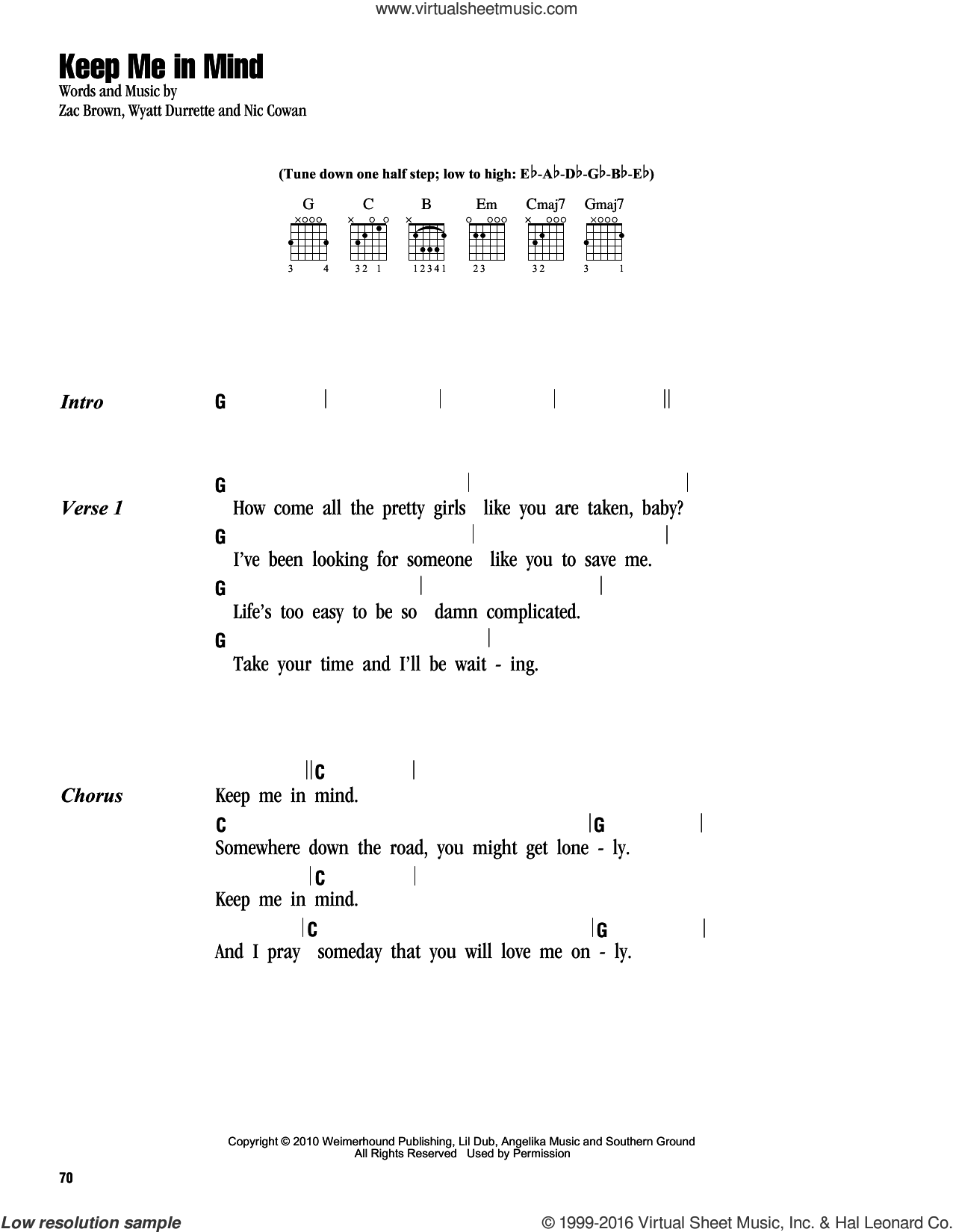 Keep Me In Mind sheet music for guitar (chords) by Zac Brown, Zac Brown Band and Wyatt Durrette. Score Image Preview.