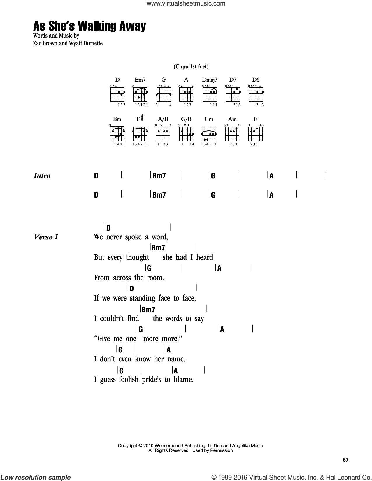 As She's Walking Away sheet music for guitar (chords) by Zac Brown and Wyatt Durrette. Score Image Preview.