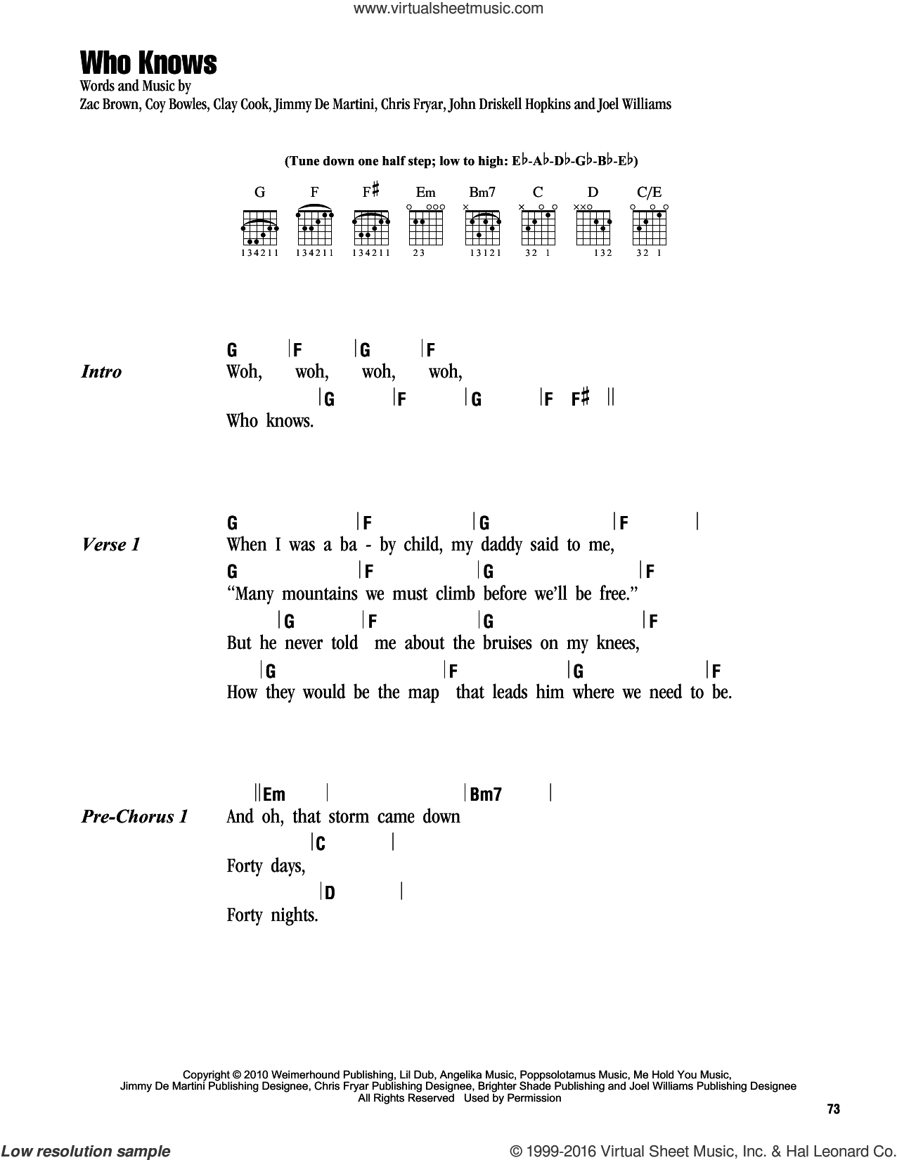 Who Knows sheet music for guitar (chords) by Zac Brown, Zac Brown Band, Clay Cook and John Driskell Hopkins. Score Image Preview.