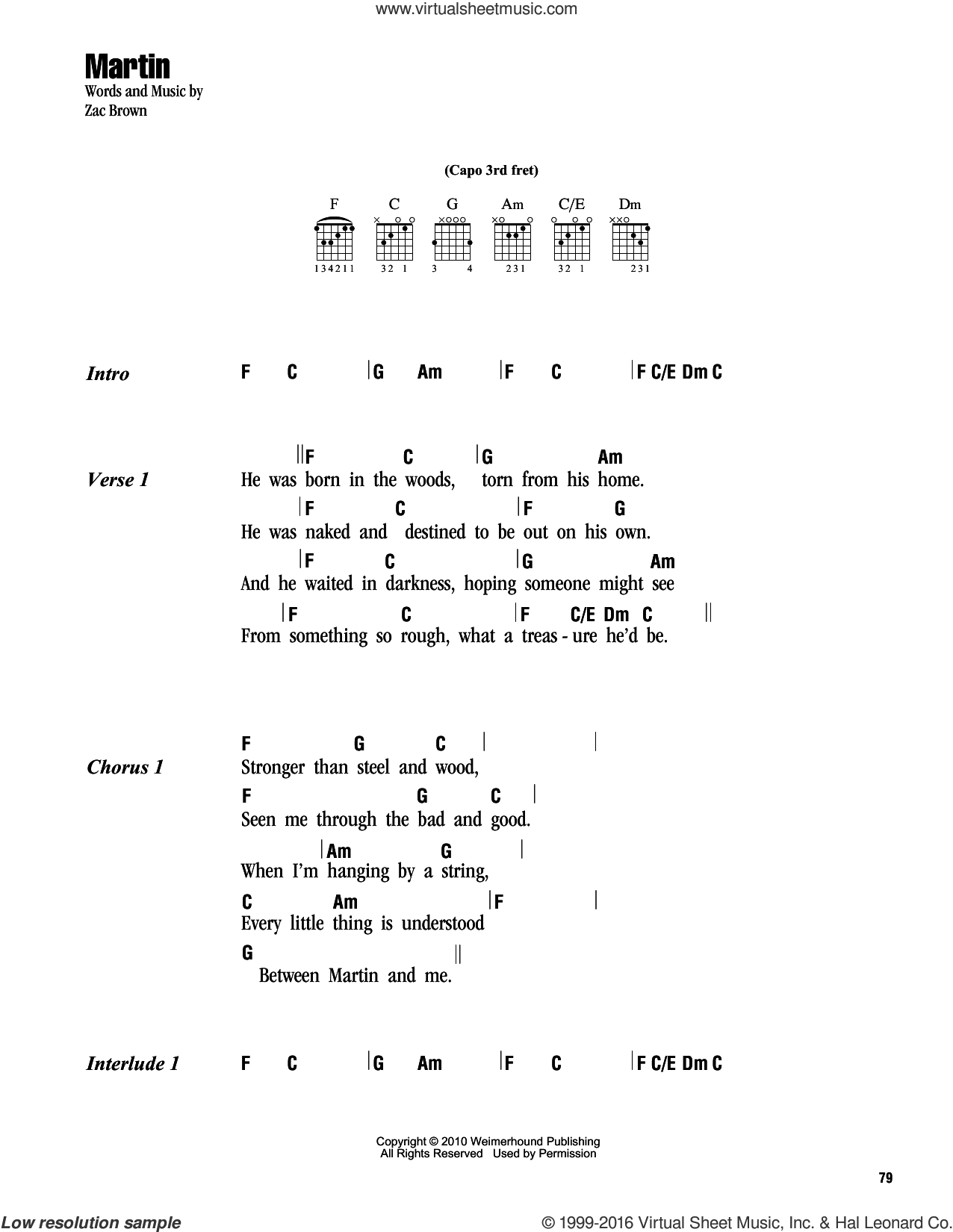 Martin sheet music for guitar (chords) by Zac Brown and Zac Brown Band. Score Image Preview.