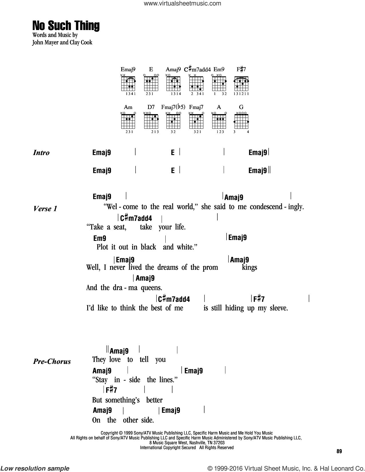 Mayer No Such Thing Sheet Music For Guitar Chords Pdf