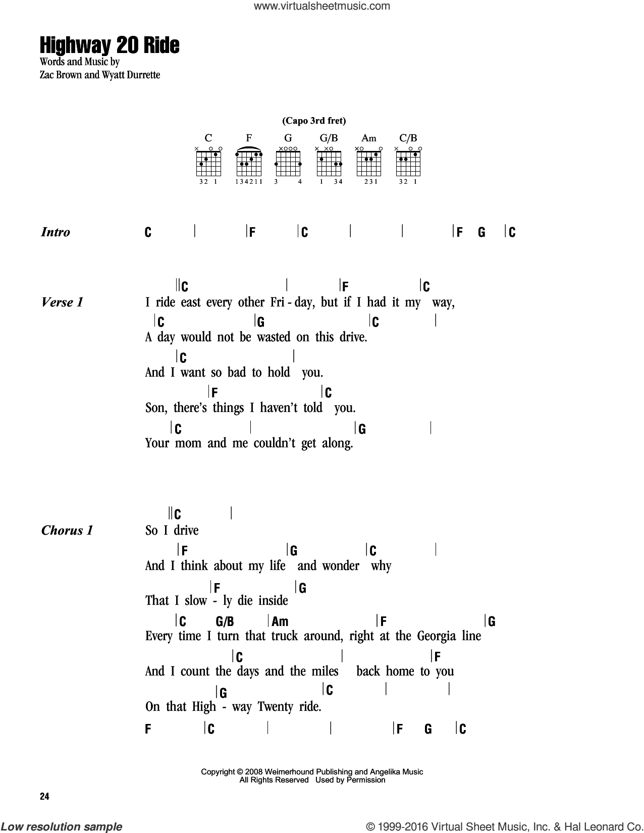 Highway 20 Ride sheet music for guitar (chords) by Zac Brown, Zac Brown Band and Wyatt Durrette. Score Image Preview.