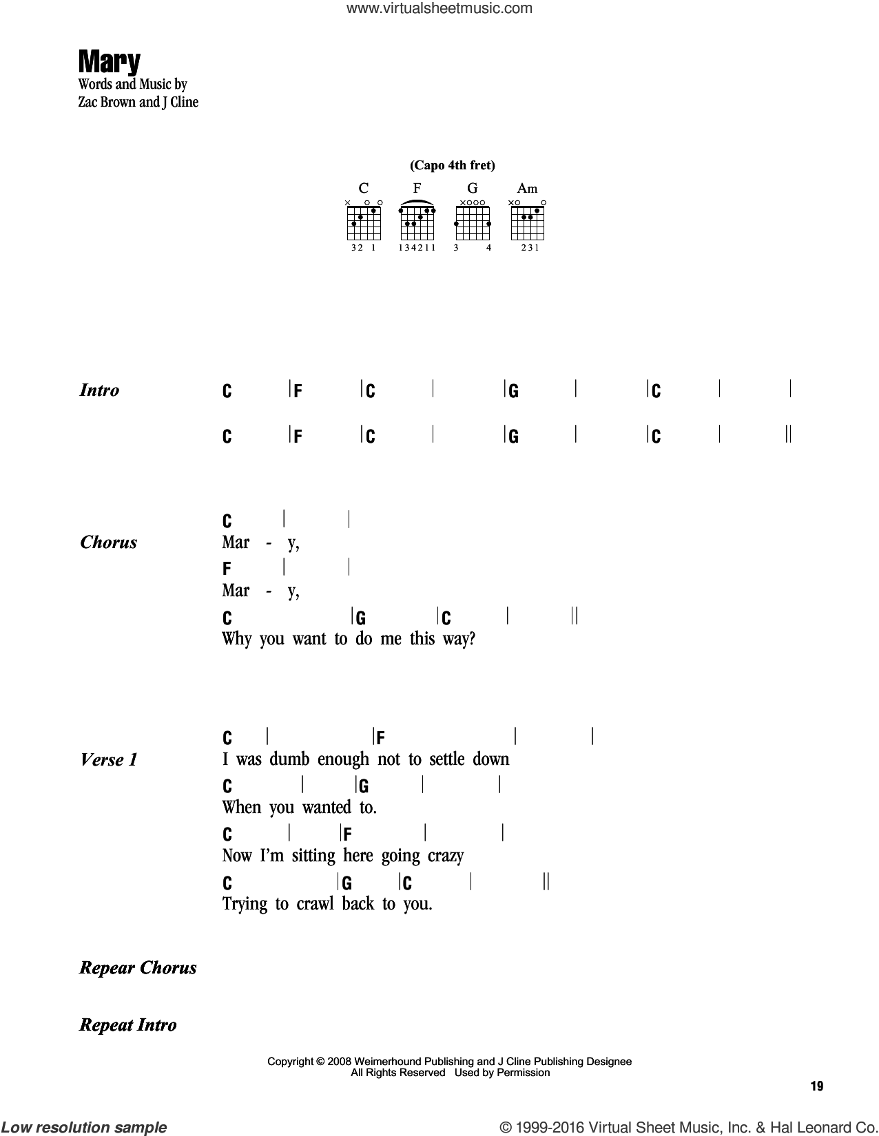 Mary sheet music for guitar (chords) by Zac Brown and Zac Brown Band. Score Image Preview.