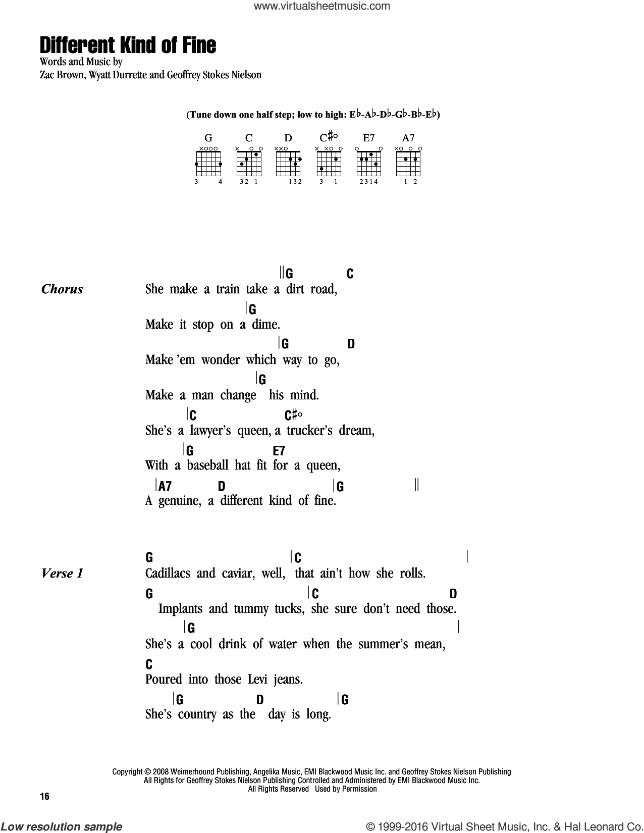 Different Kind Of Fine sheet music for guitar (chords) by Zac Brown Band, intermediate. Score Image Preview.