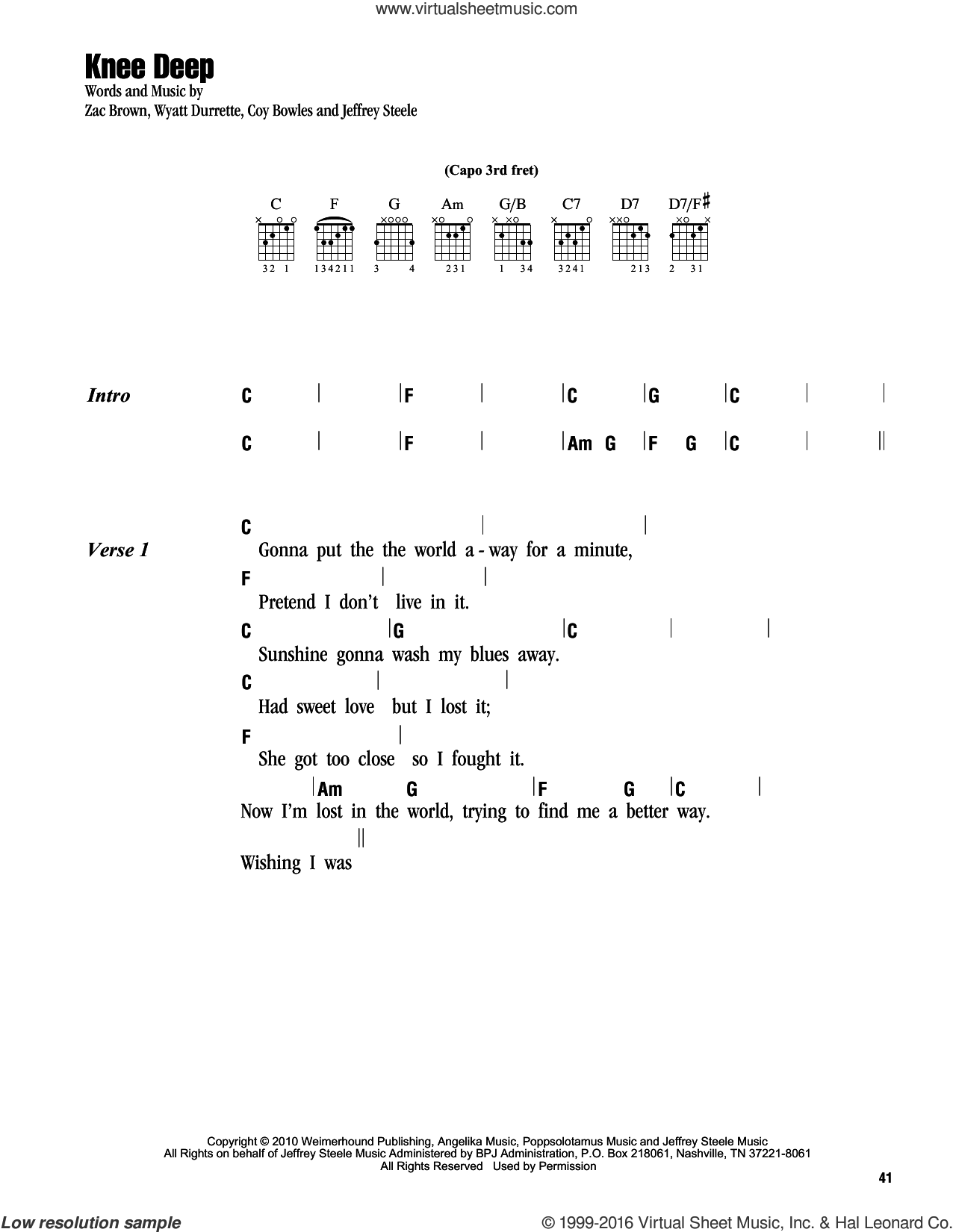 Knee Deep sheet music for guitar (chords) by Zac Brown, Jeffrey Steele and Wyatt Durrette. Score Image Preview.