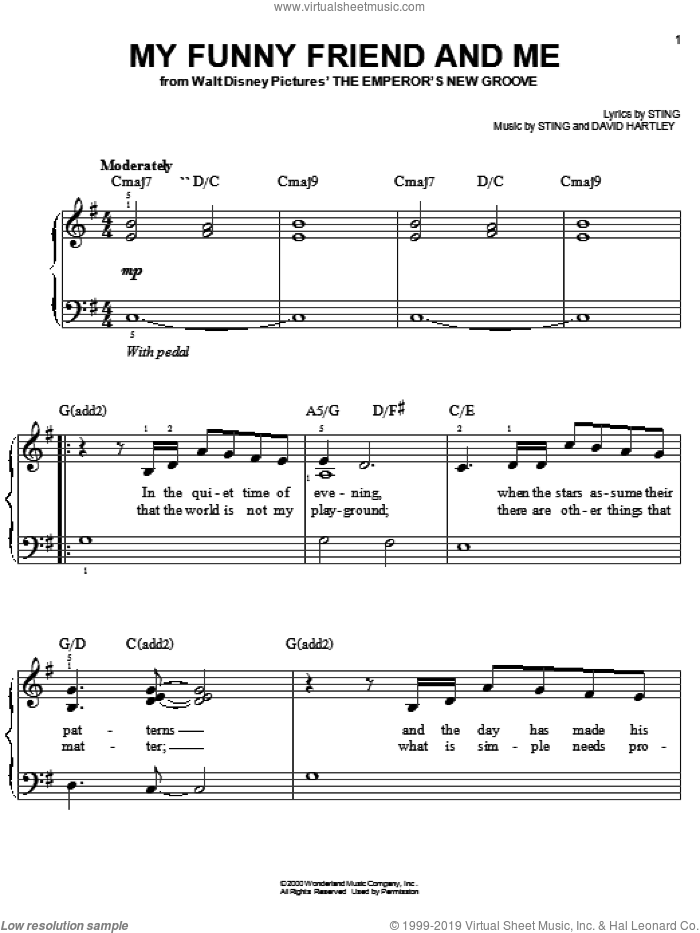 My Funny Friend And Me sheet music for piano solo by Sting and David Hartley, easy skill level