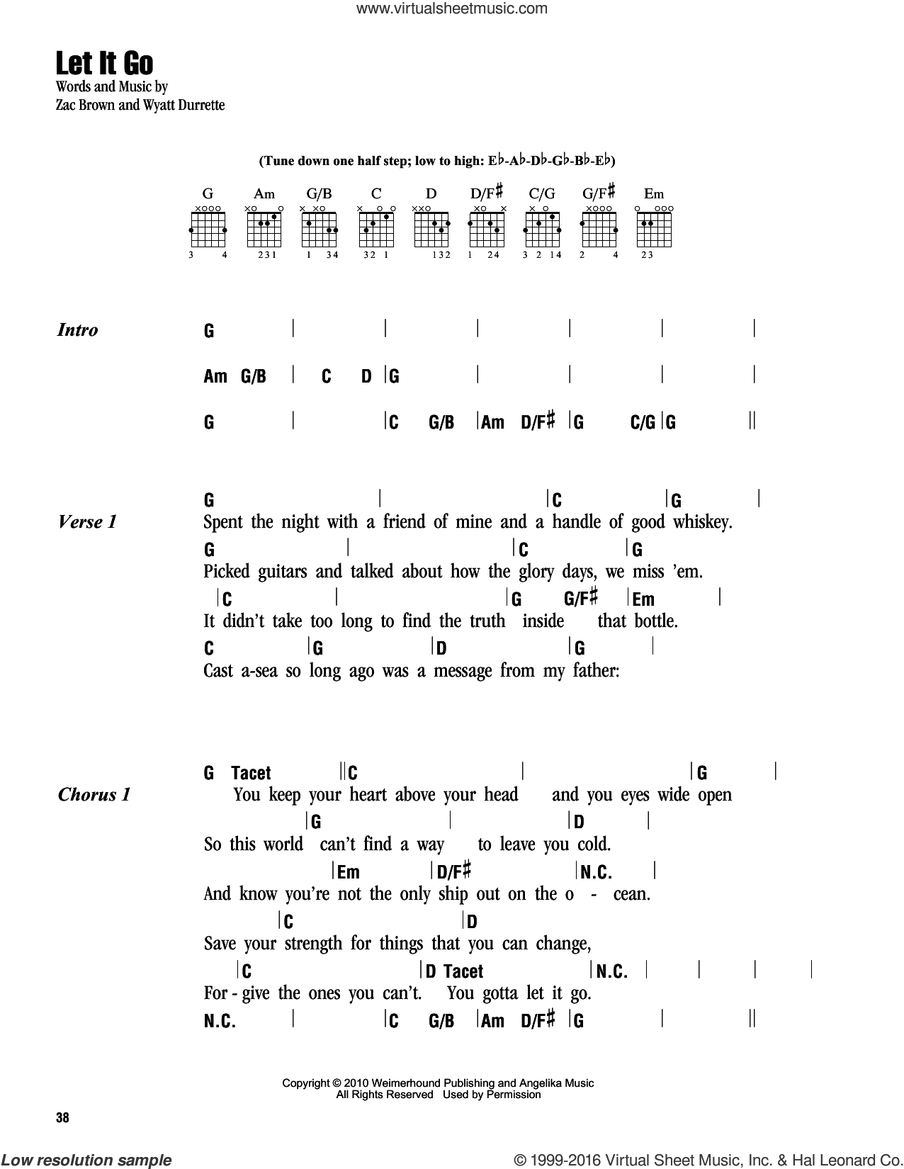 Let It Go sheet music for guitar (chords) by Zac Brown, Zac Brown Band and Wyatt Durrette. Score Image Preview.