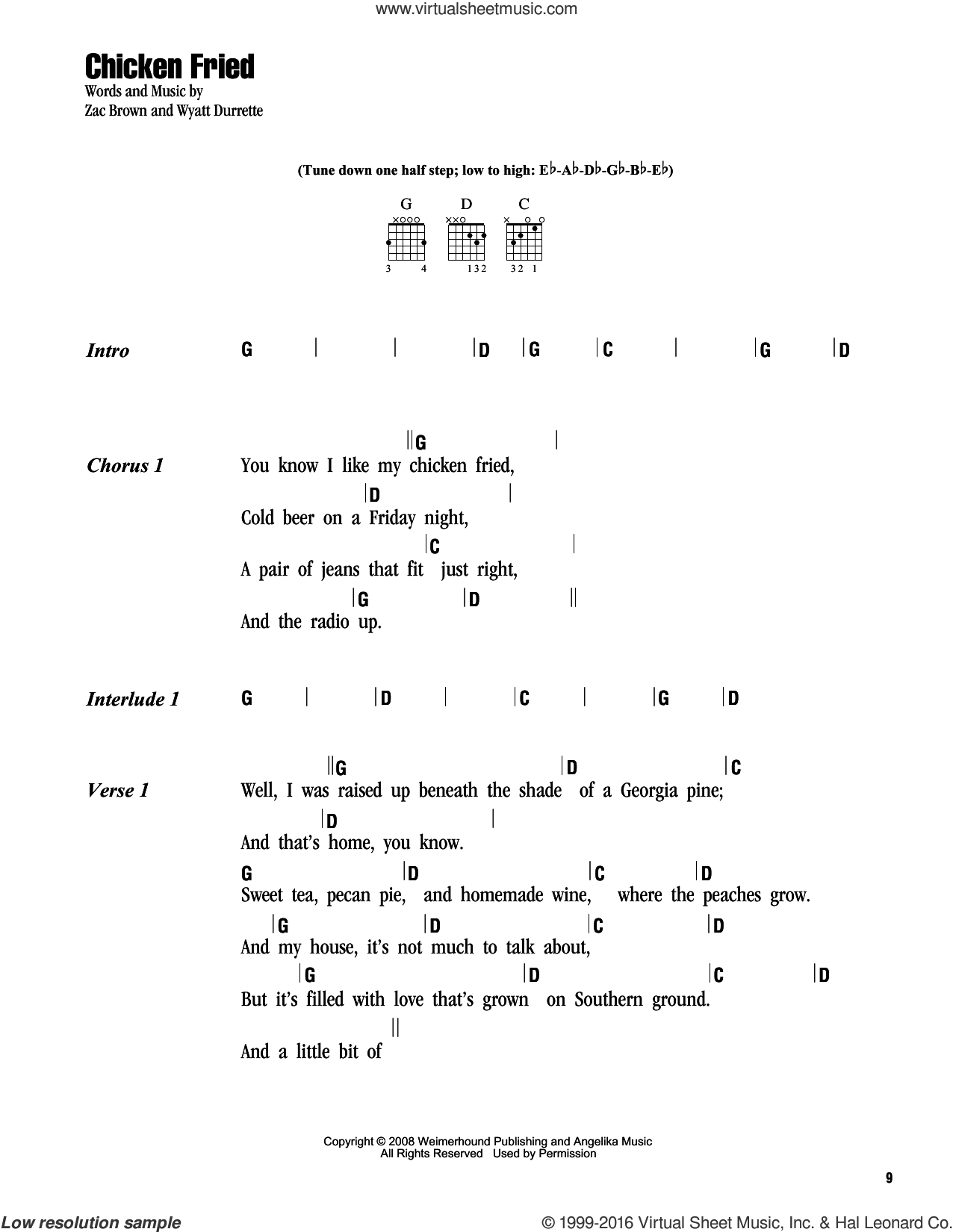 Chicken Fried sheet music for guitar (chords) by Zac Brown Band and Miscellaneous. Score Image Preview.