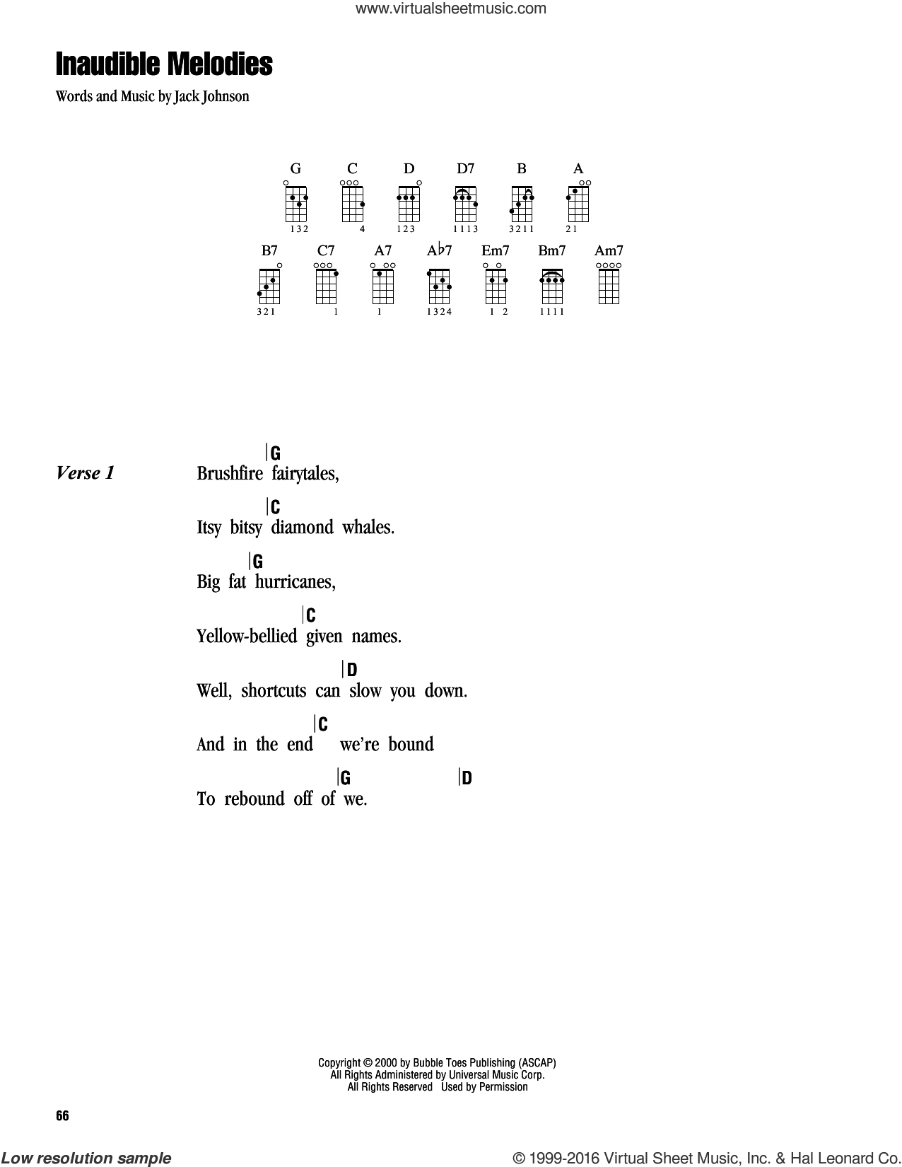 Inaudible Melodies sheet music for ukulele (chords) by Jack Johnson. Score Image Preview.