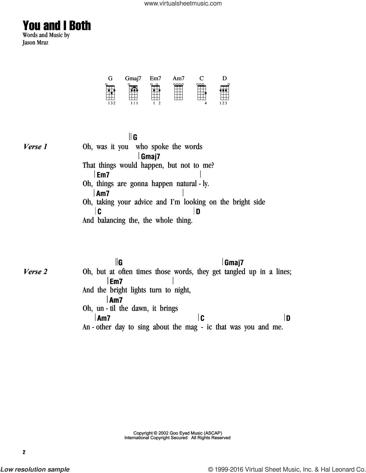 You and I Both sheet music for ukulele (chords) by Jason Mraz. Score Image Preview.