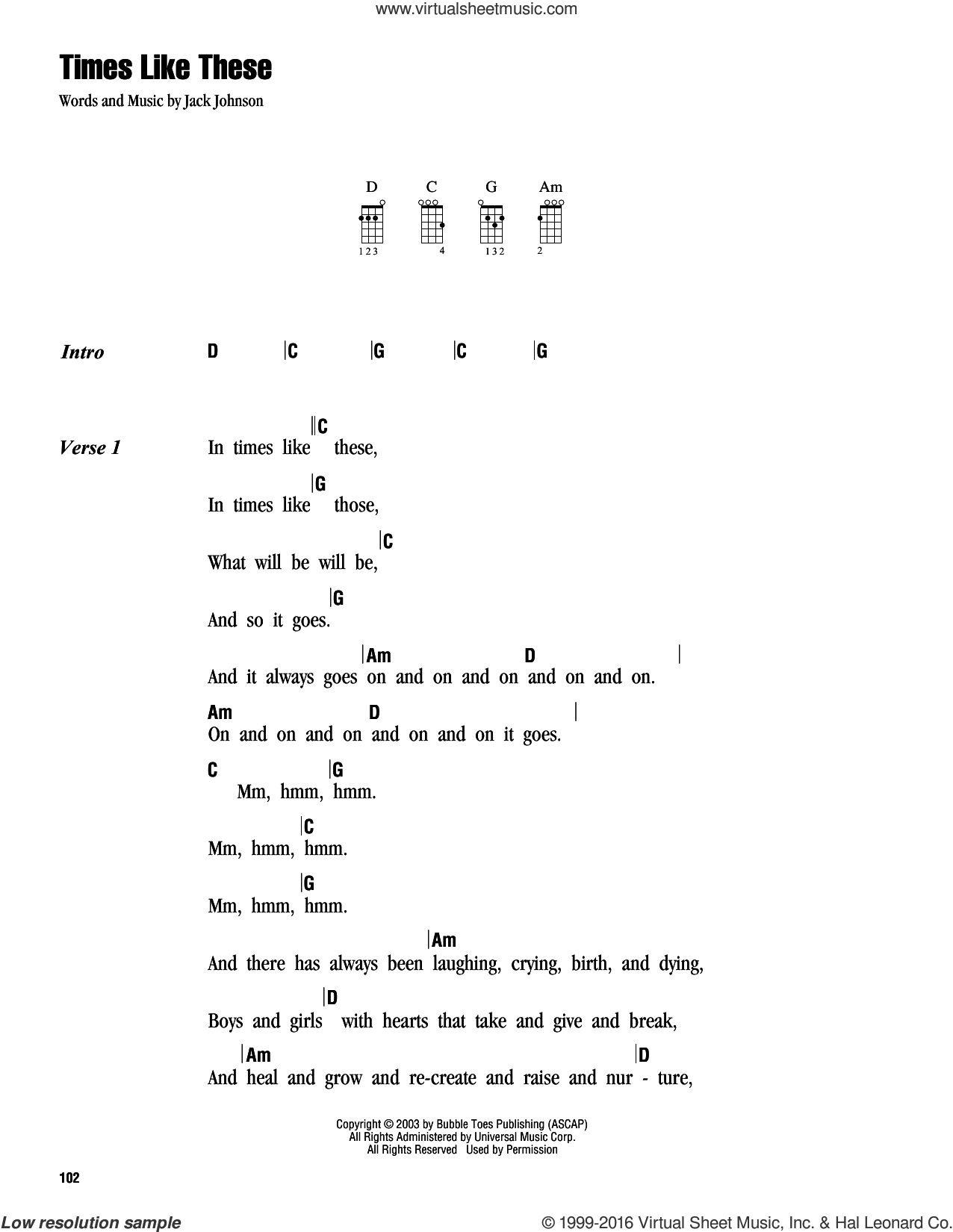 Times Like These sheet music for ukulele (chords) by Jack Johnson. Score Image Preview.