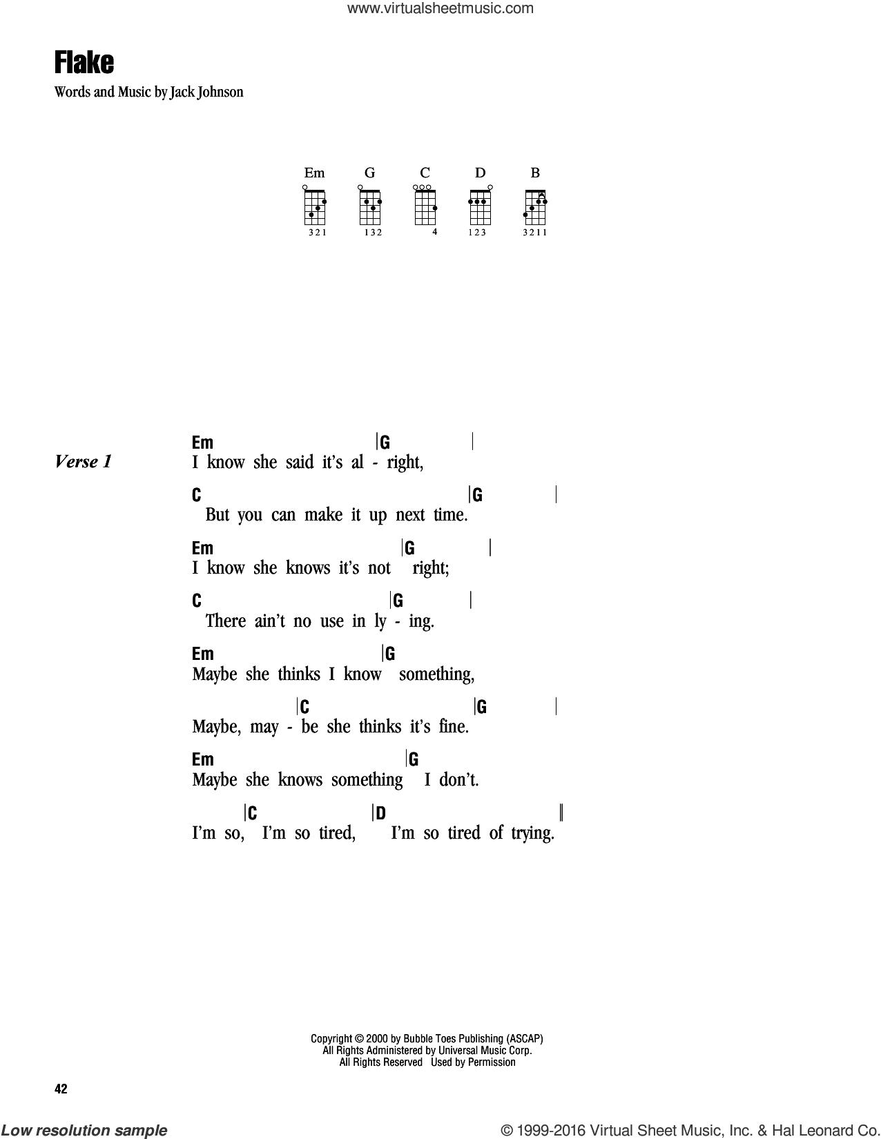 Johnson flake sheet music for ukulele chords flake sheet music for ukulele chords by jack johnson intermediate score image hexwebz Choice Image
