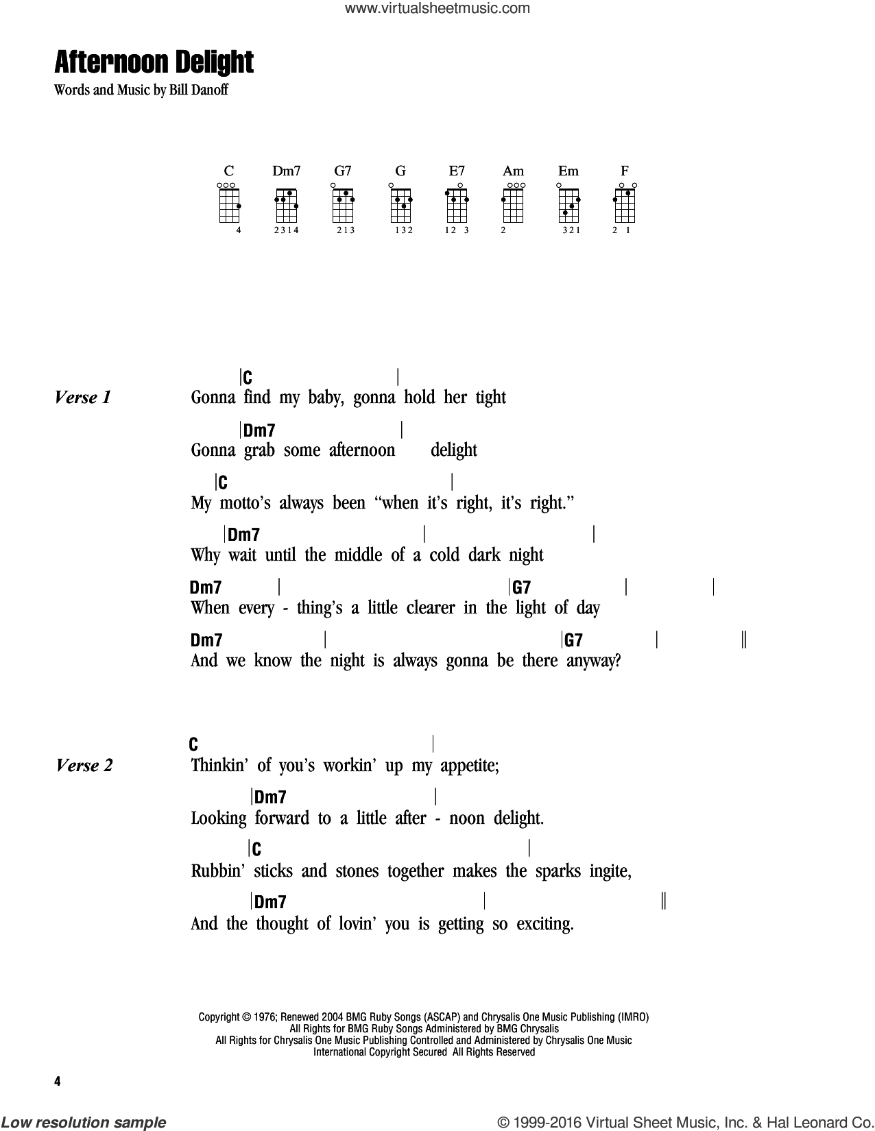 Afternoon Delight sheet music for ukulele (chords) by Starland Vocal Band and Bill Danoff, intermediate skill level
