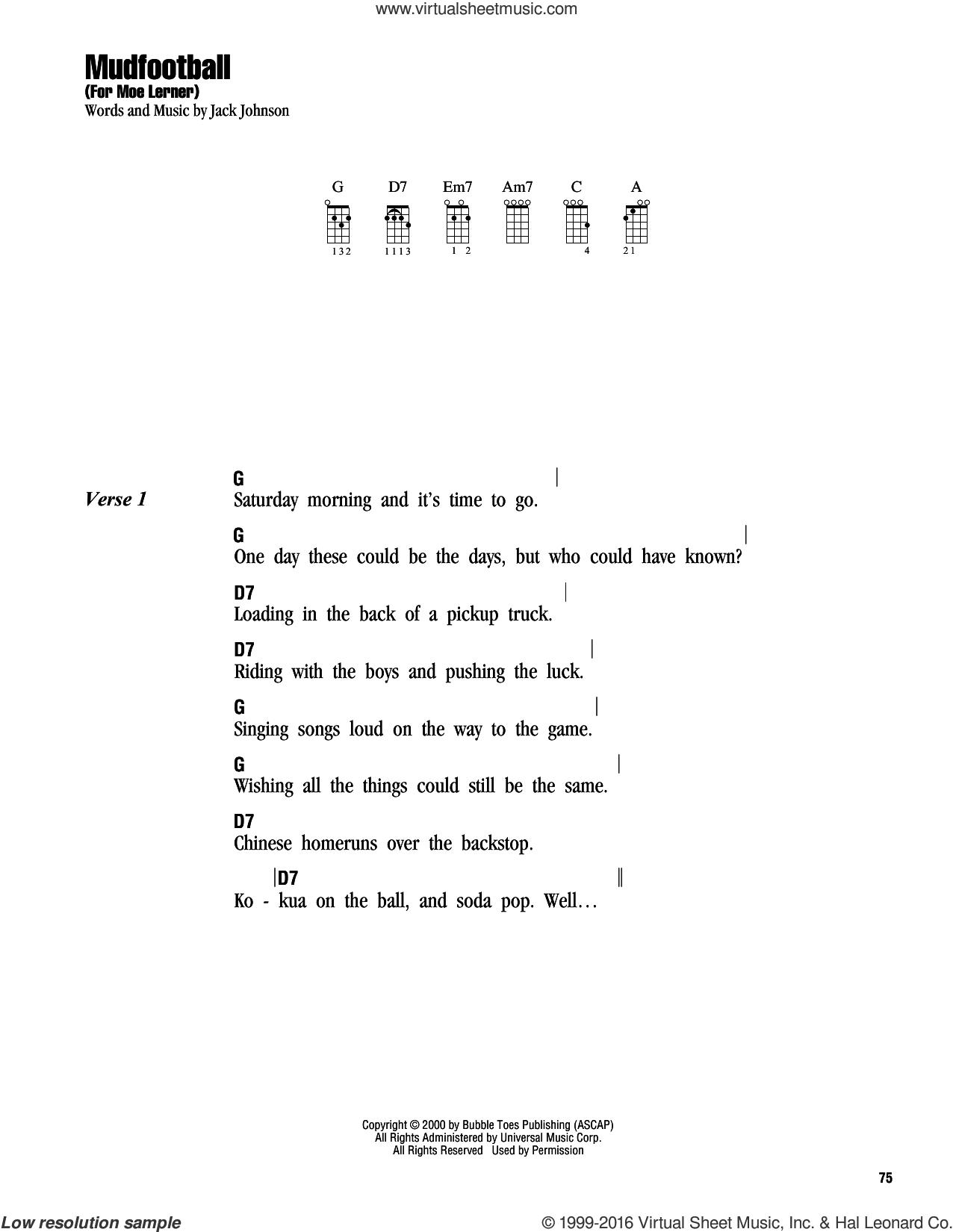 Mudfootball (For Moe Lerner) sheet music for ukulele (chords) by Jack Johnson, intermediate skill level