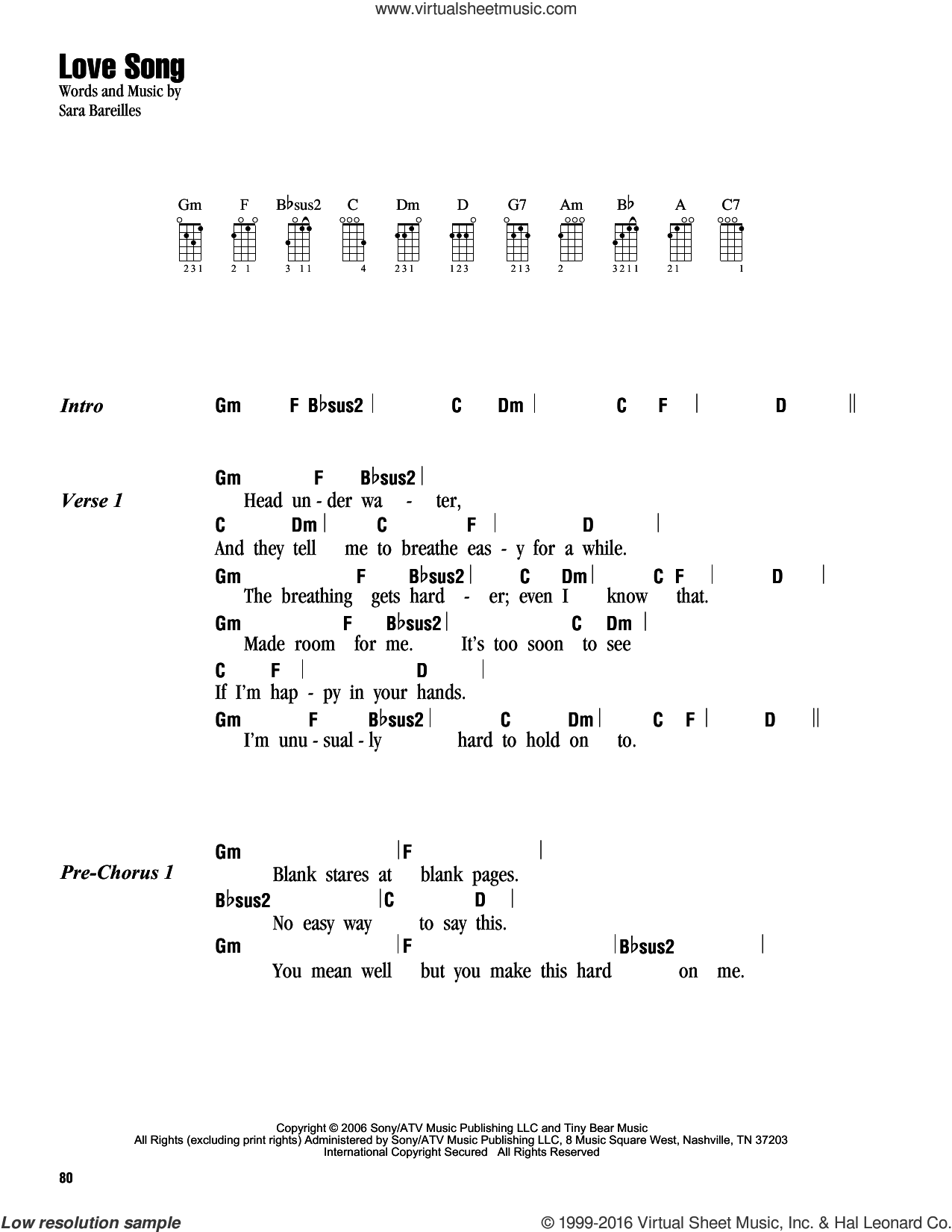 Love Song sheet music for ukulele (chords) by Sara Bareilles. Score Image Preview.