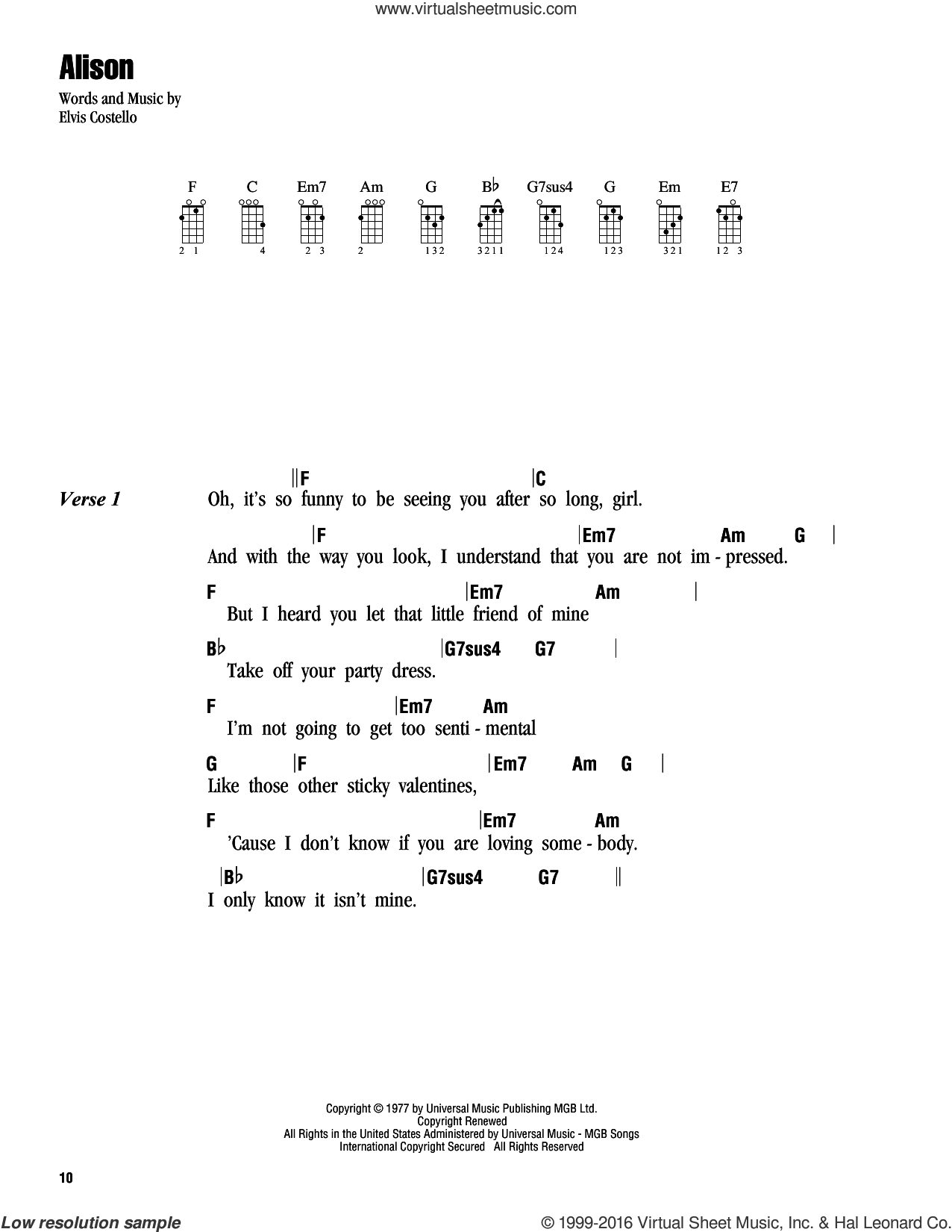 Alison sheet music for ukulele (chords) by Elvis Costello. Score Image Preview.