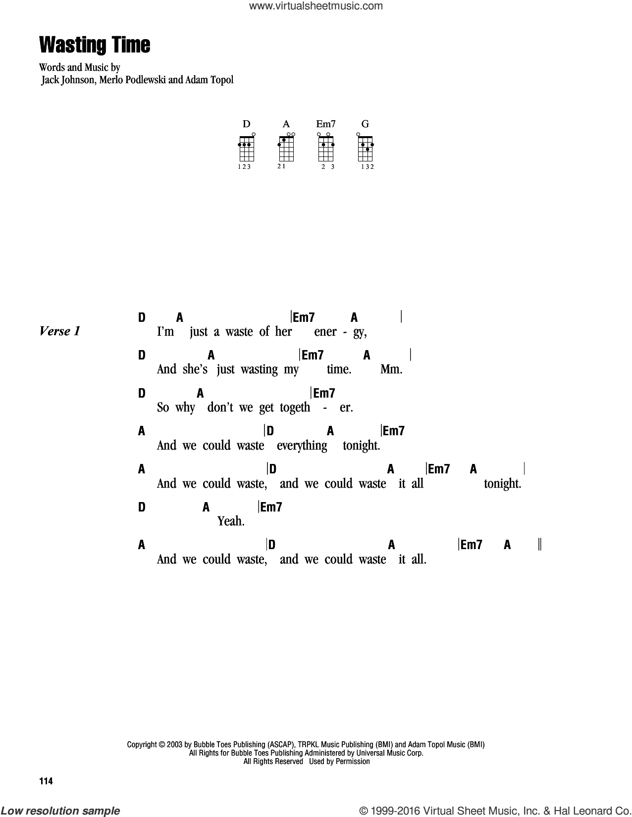 Wasting Time sheet music for ukulele (chords) by Merlo Podlewski, Adam Topol and Jack Johnson. Score Image Preview.
