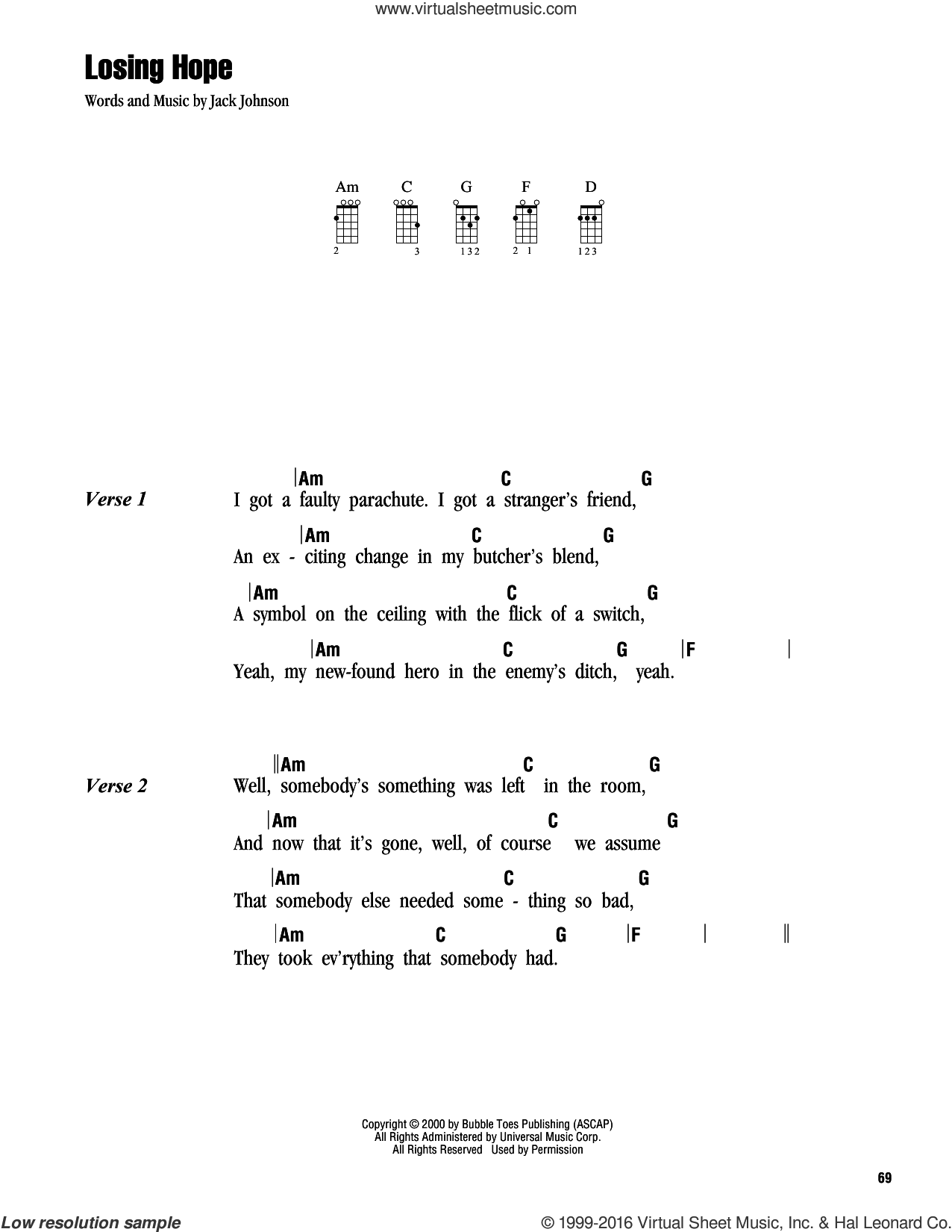 Losing Hope sheet music for ukulele (chords) by Jack Johnson. Score Image Preview.