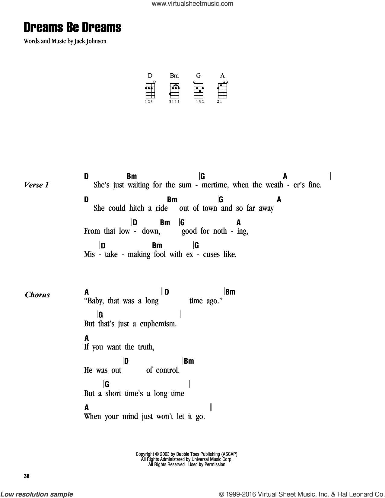 Dreams Be Dreams sheet music for ukulele (chords) by Jack Johnson, intermediate skill level