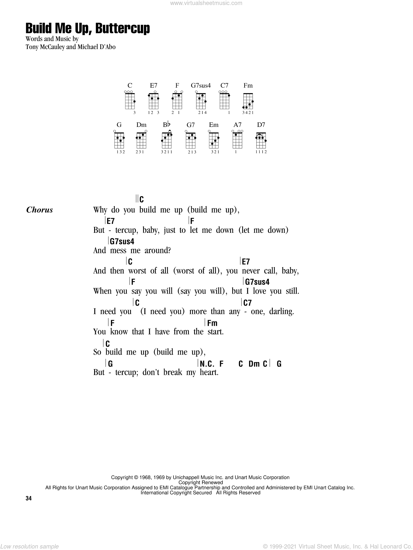 Build Me Up, Buttercup sheet music for ukulele (chords) by Tony MacAuley and The Foundations. Score Image Preview.