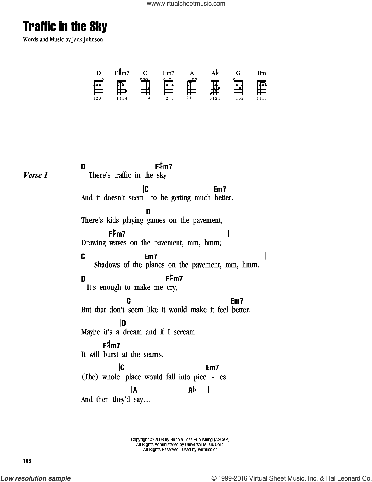 Traffic In The Sky sheet music for ukulele (chords) by Jack Johnson, intermediate ukulele (chords). Score Image Preview.