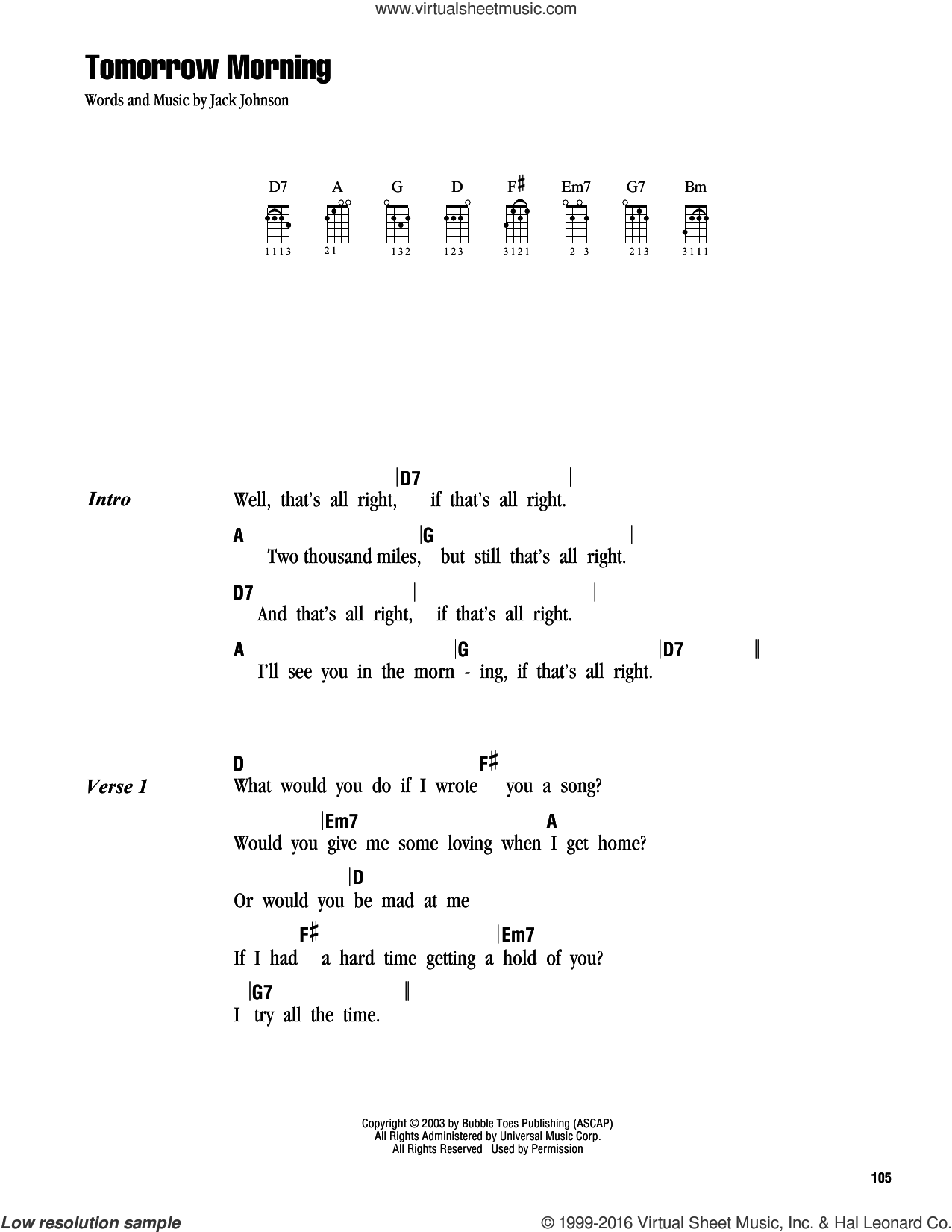 Johnson - Tomorrow Morning sheet music for ukulele (chords) [PDF]